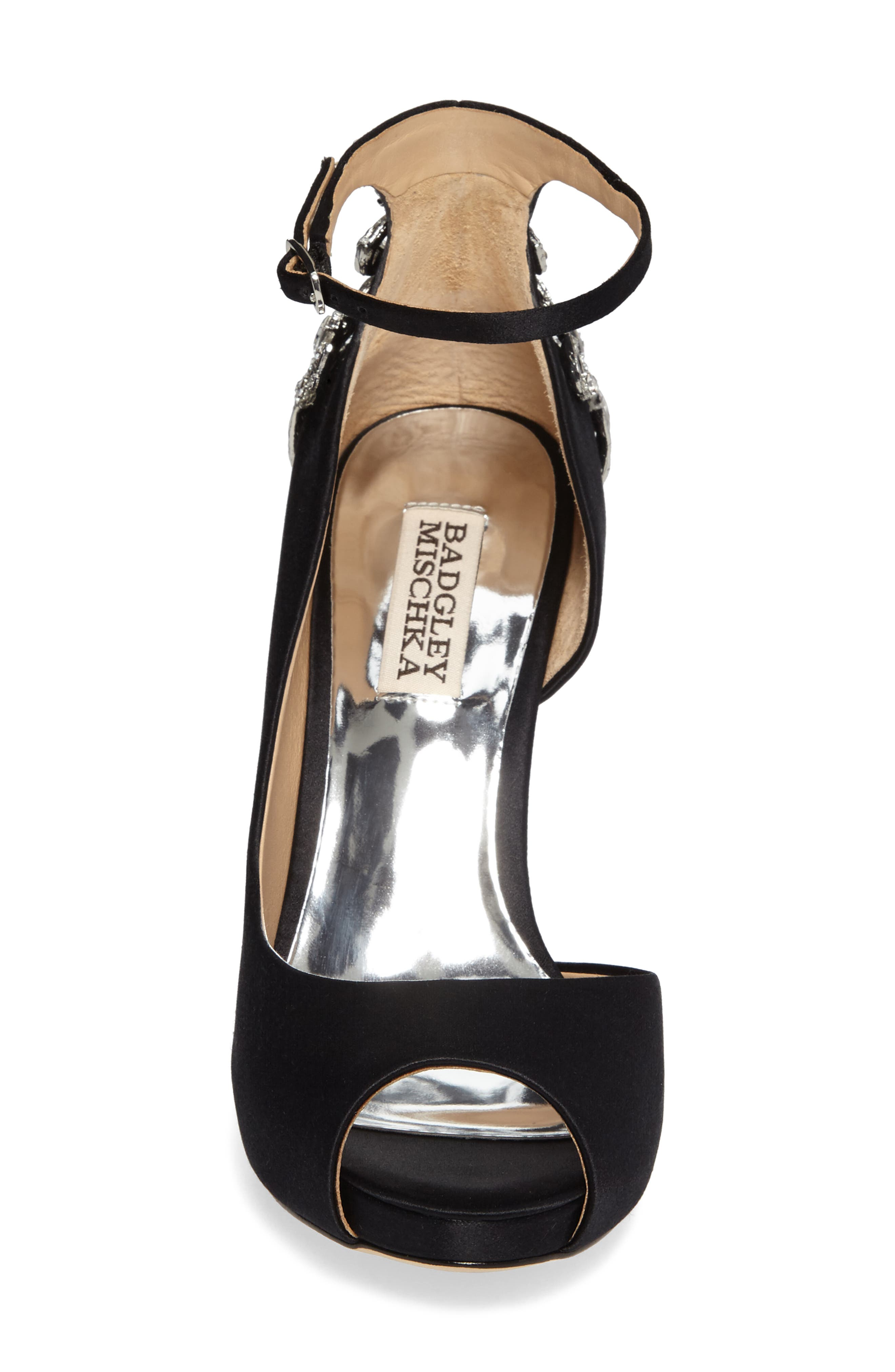 Badgley Micshka Karson Embellished Peep Toe Pump,                             Alternate thumbnail 4, color,                             Black Satin