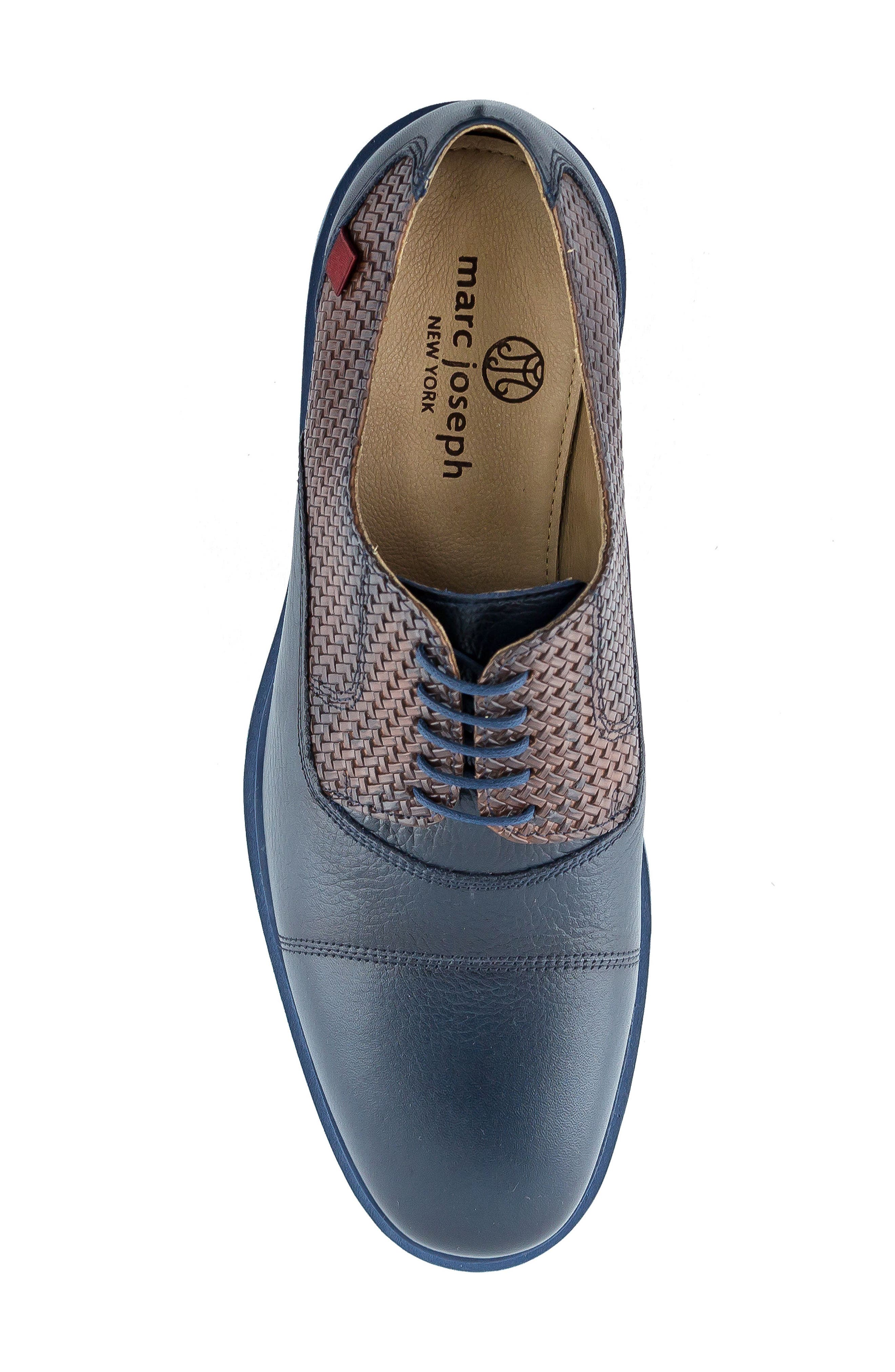 Manhattan Cap Toe Oxford,                             Alternate thumbnail 4, color,                             Navy Leather