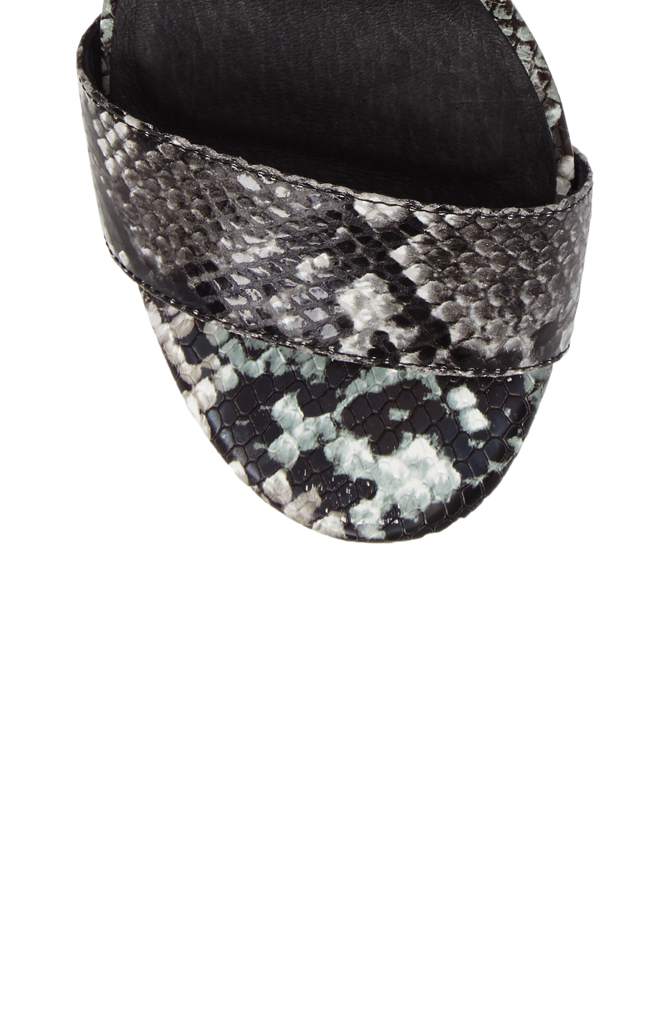 'Lindsay' Ankle Strap Sandal,                             Alternate thumbnail 5, color,                             Black Grey Snake