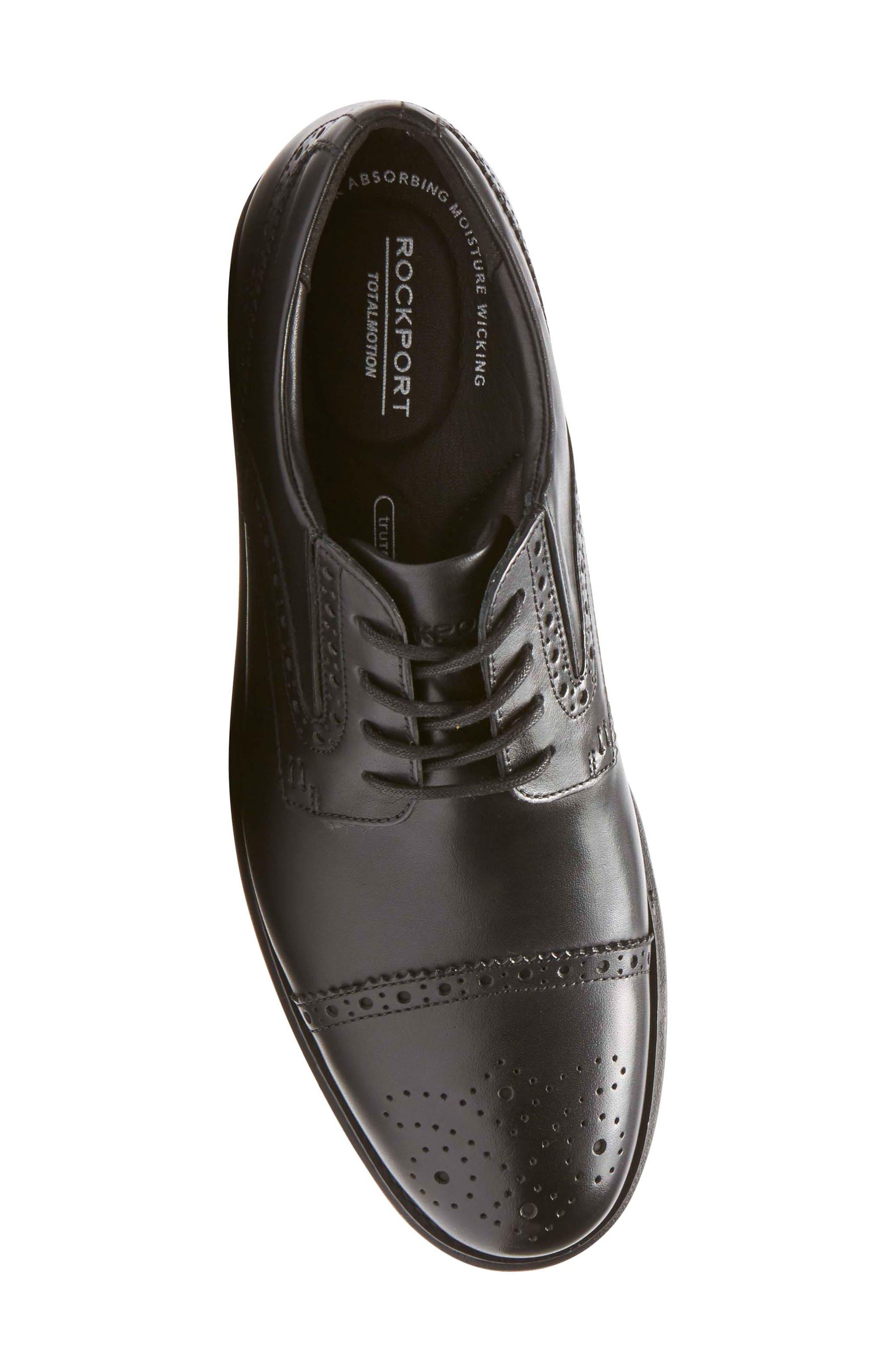 Total Motion Classic Dress Cap Toe Derby,                             Alternate thumbnail 5, color,                             Black Leather