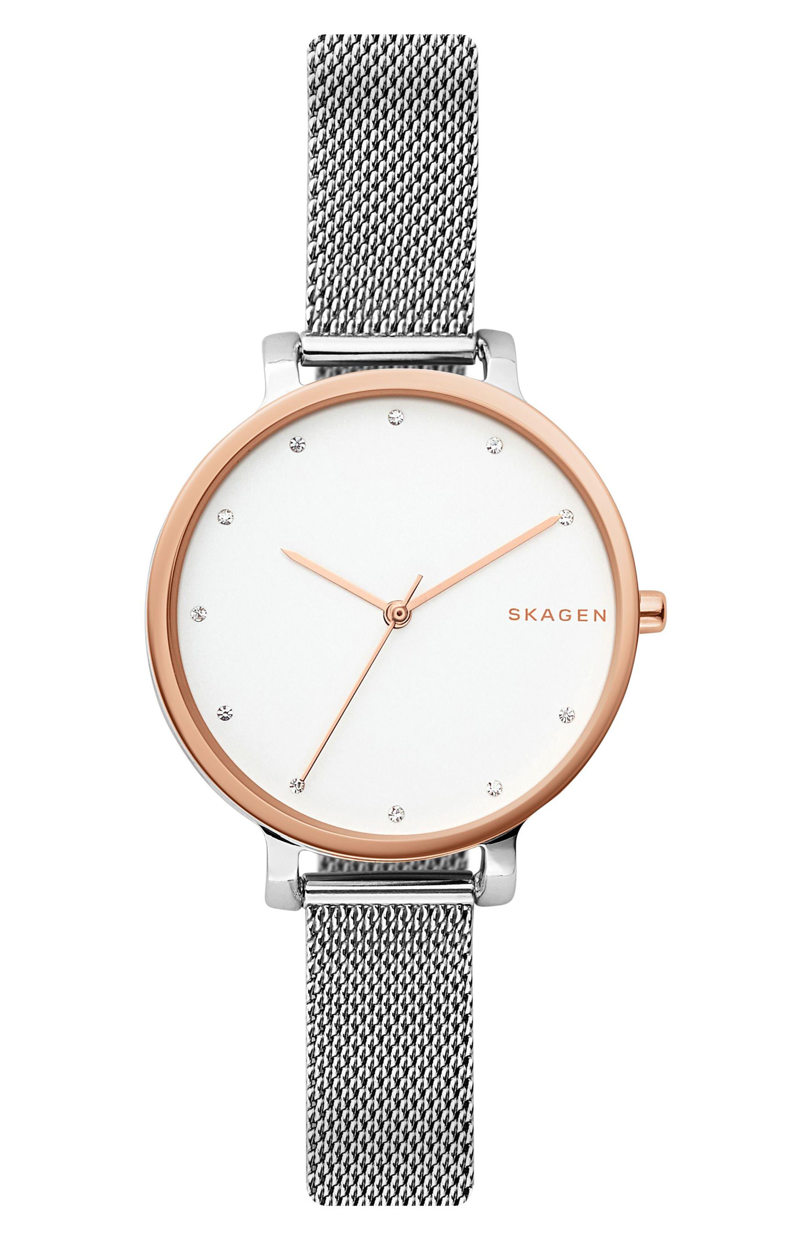 Main Image - Skagen Hagen Mesh Strap Watch, 34mm