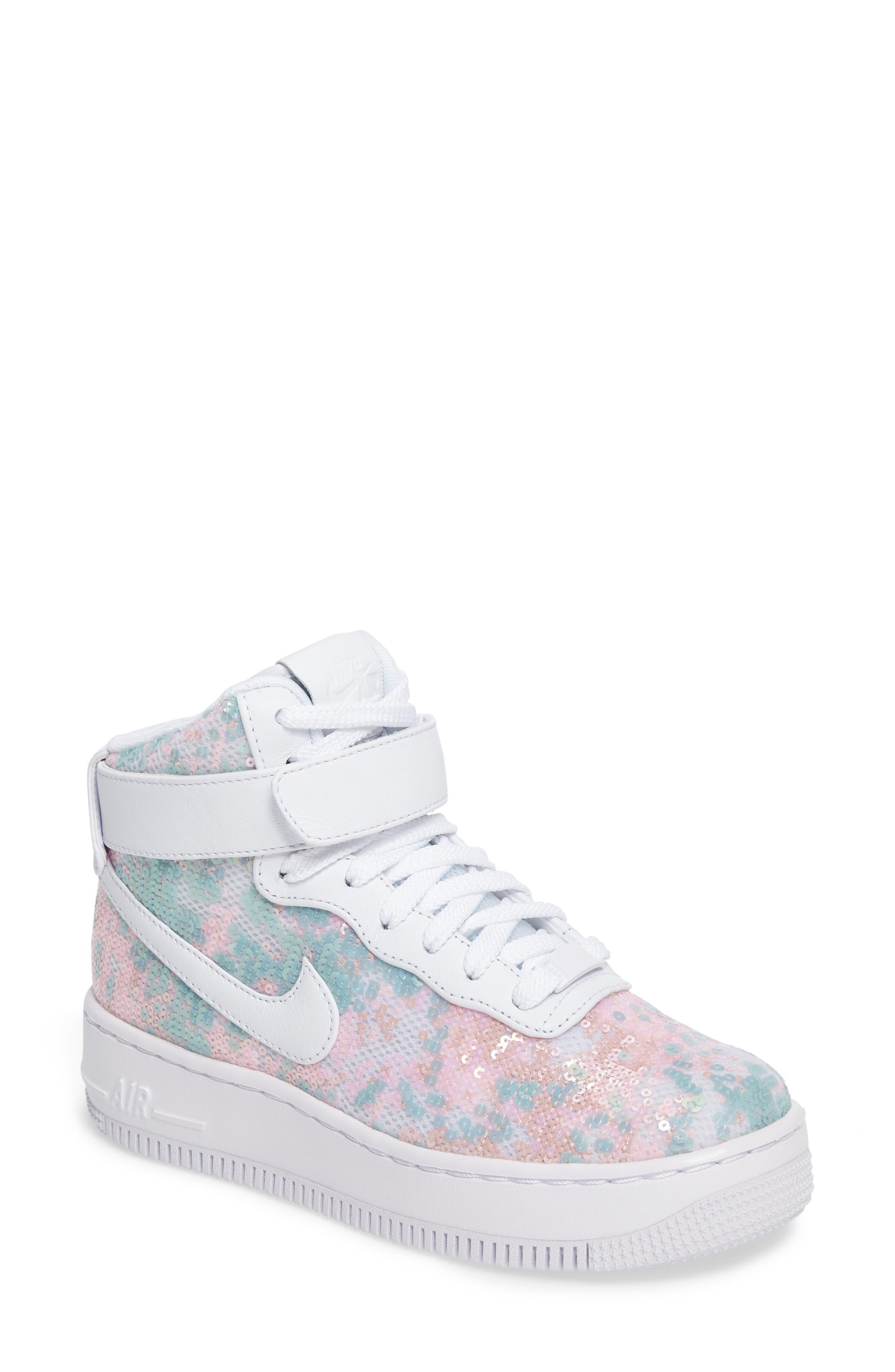 Nike Air Force 1 Upstep Hi LX Sequined High Top Sneaker (Women)