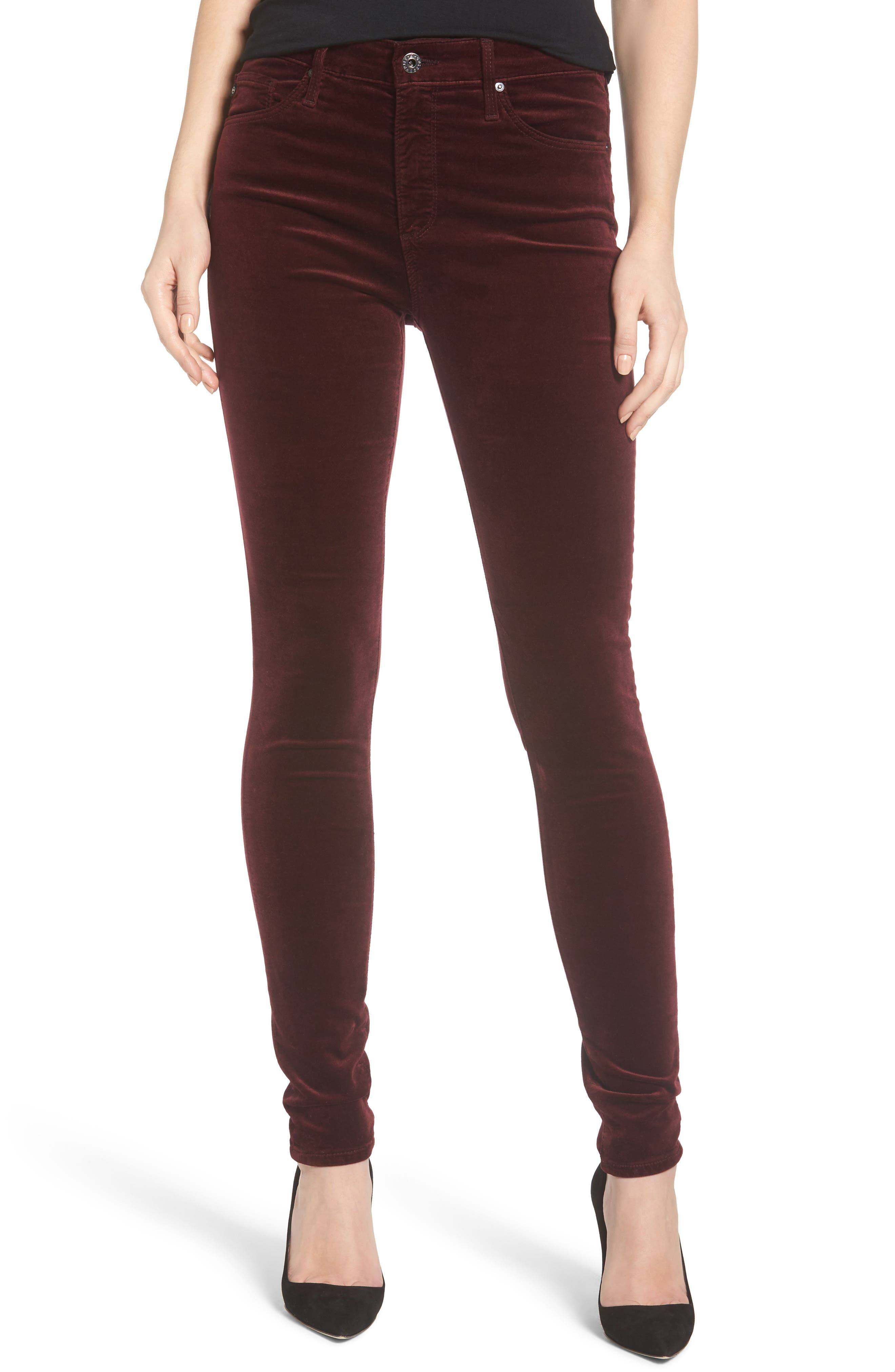 The Farrah High Waist Velvet Jeans,                         Main,                         color, Deep Currant