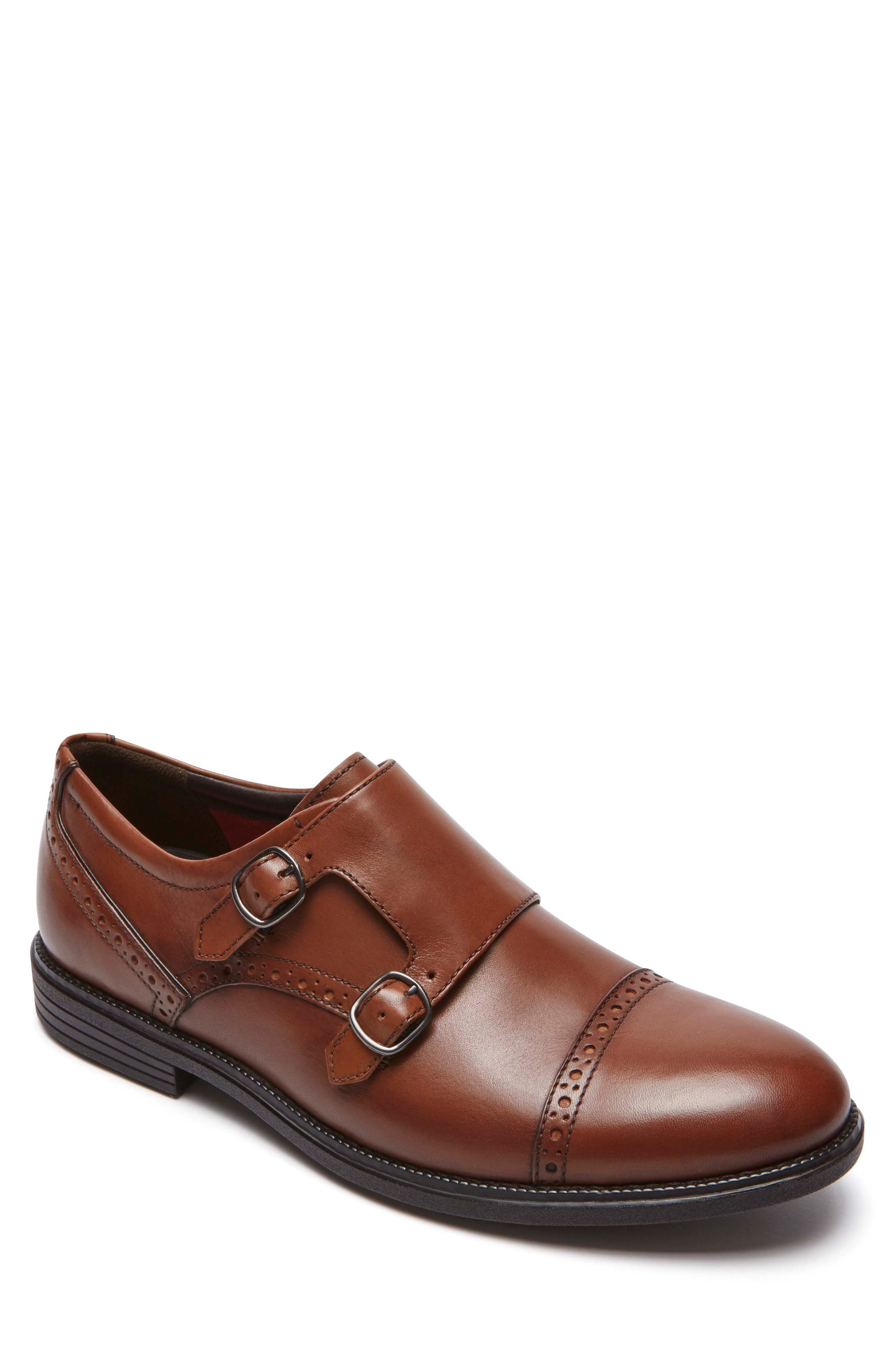 Madson Double Monk Strap Shoe,                             Main thumbnail 1, color,                             Tan Leather