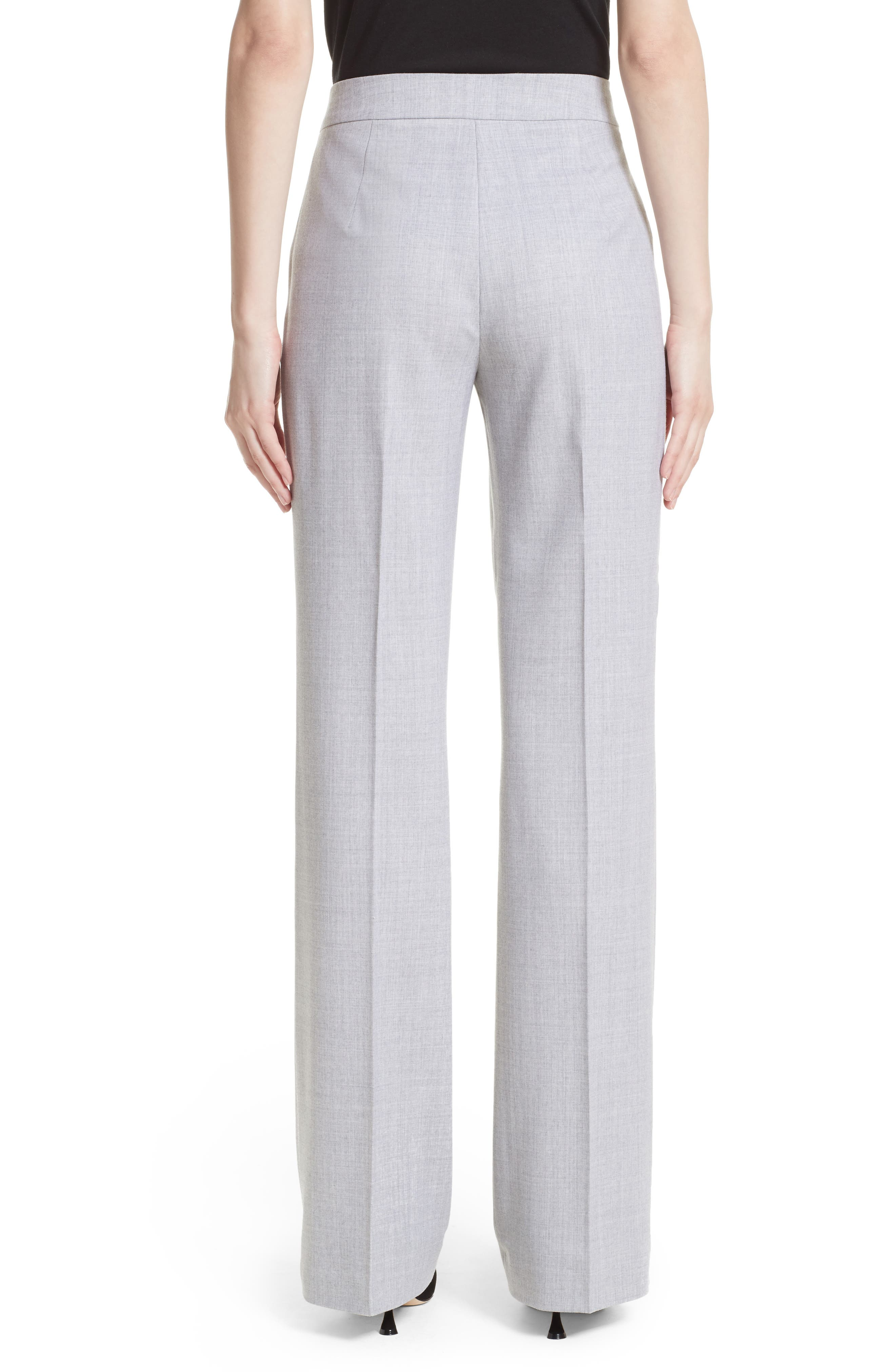 Alessia Stretch Wool Pants,                             Alternate thumbnail 2, color,                             Light Grey