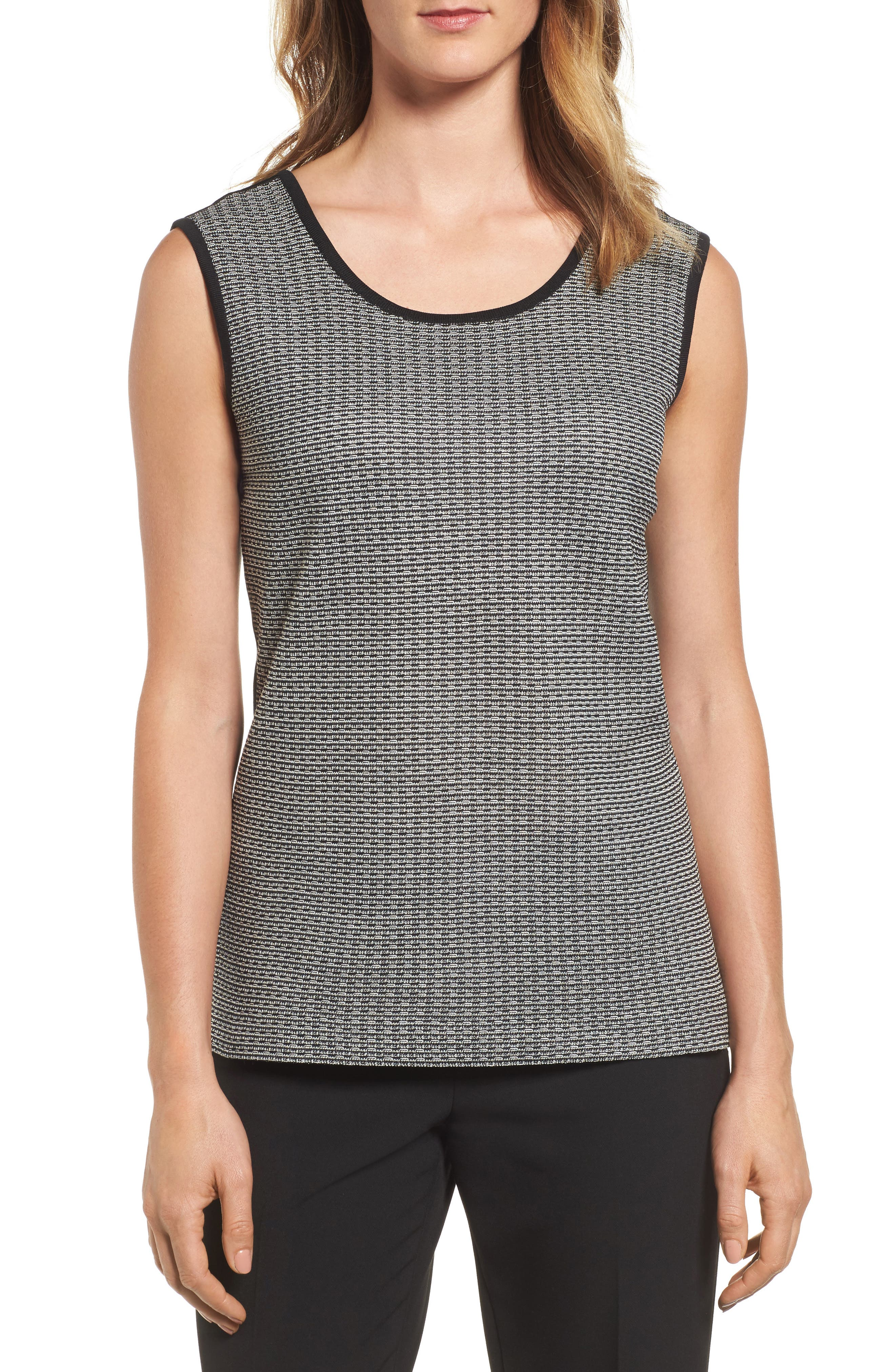 Reversible Scoop Neck Knit Tank,                             Main thumbnail 1, color,                             Black/ Ivory