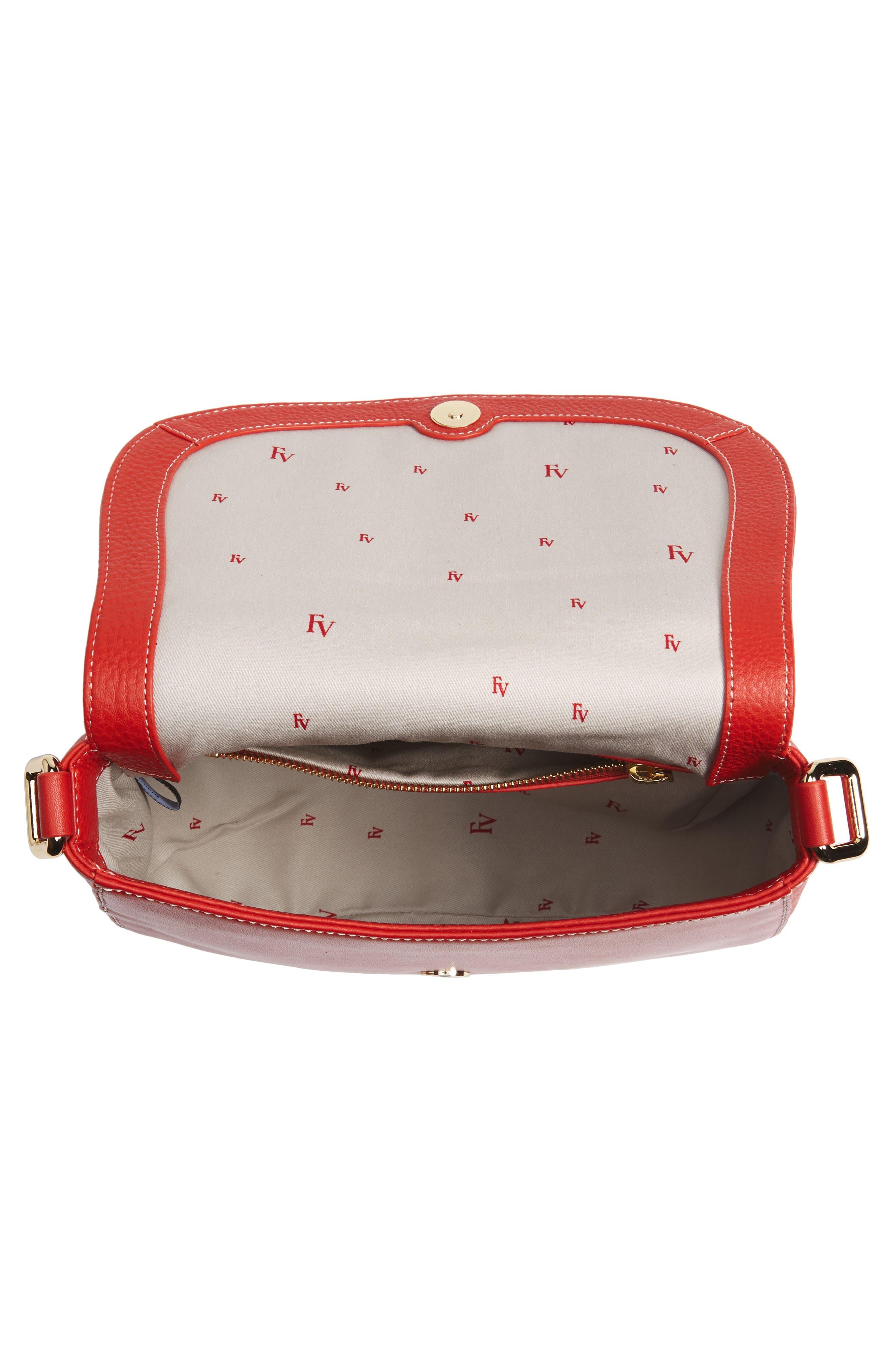 Small Ellen Leather Crossbody Bag,                             Alternate thumbnail 4, color,                             Coral
