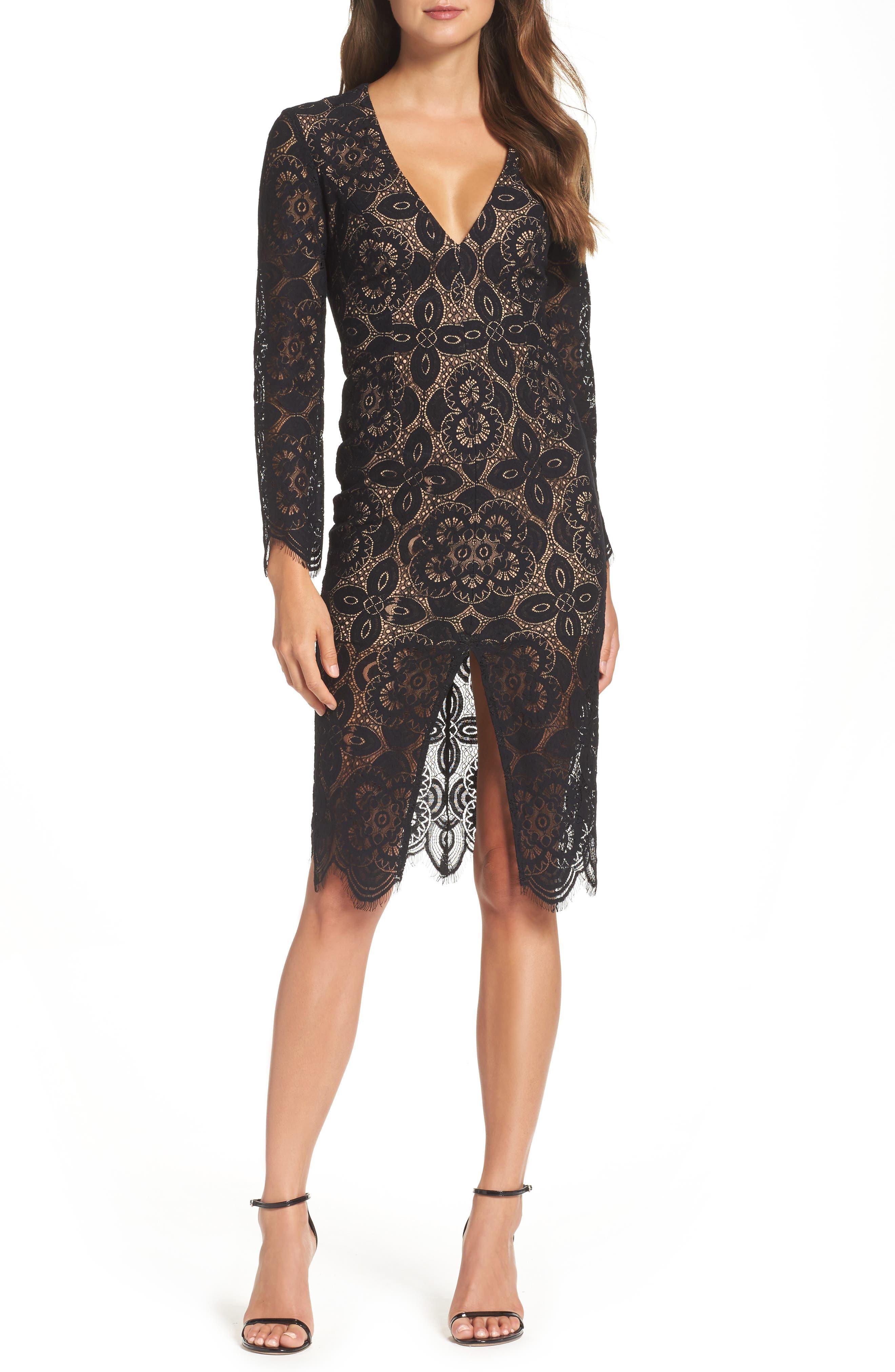 V-Neck Lace Sheath Dress,                         Main,                         color, Black