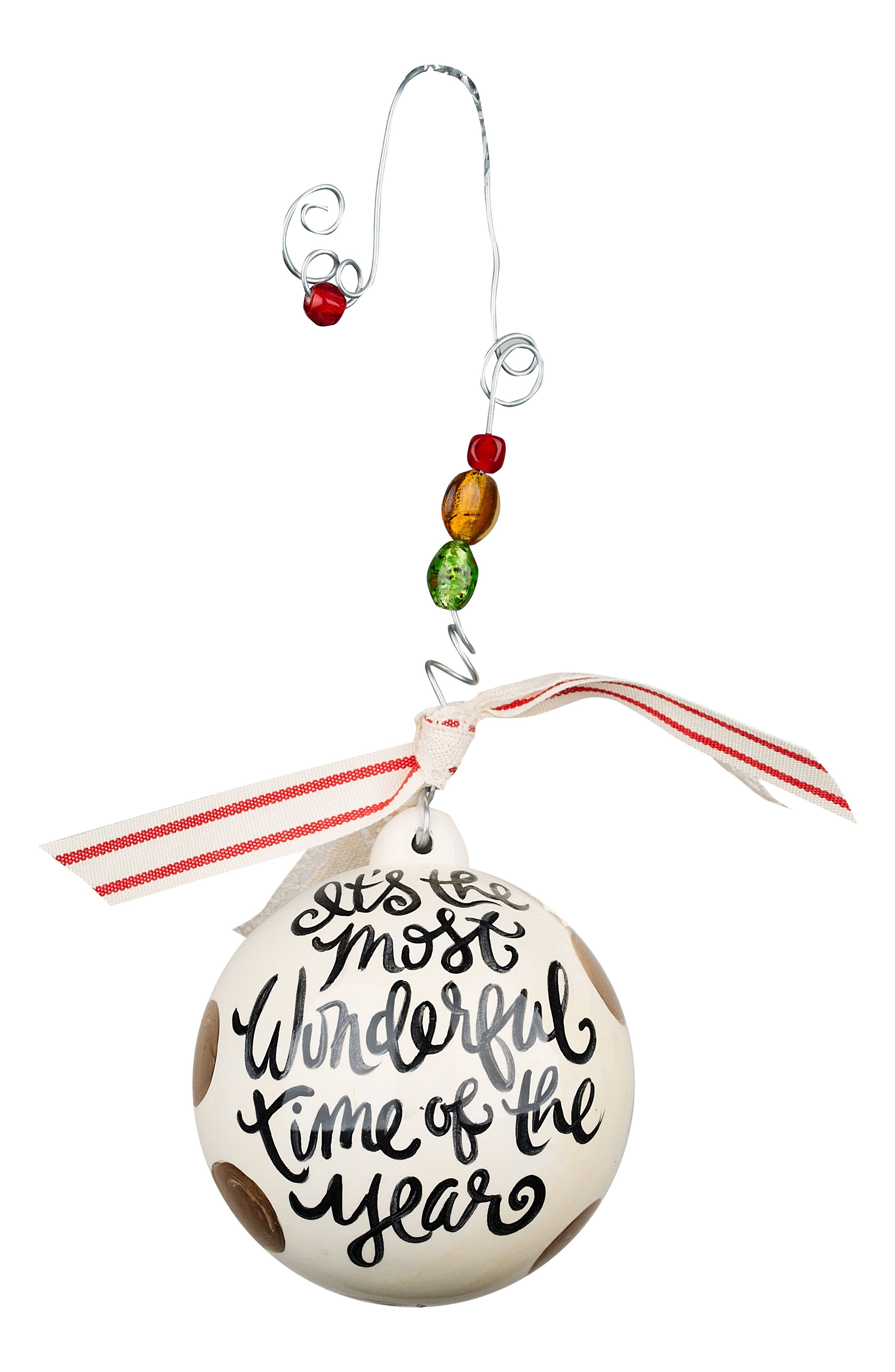 Most Wonderful Time of the Year Ball Ornament,                             Main thumbnail 1, color,                             Green/ Multi