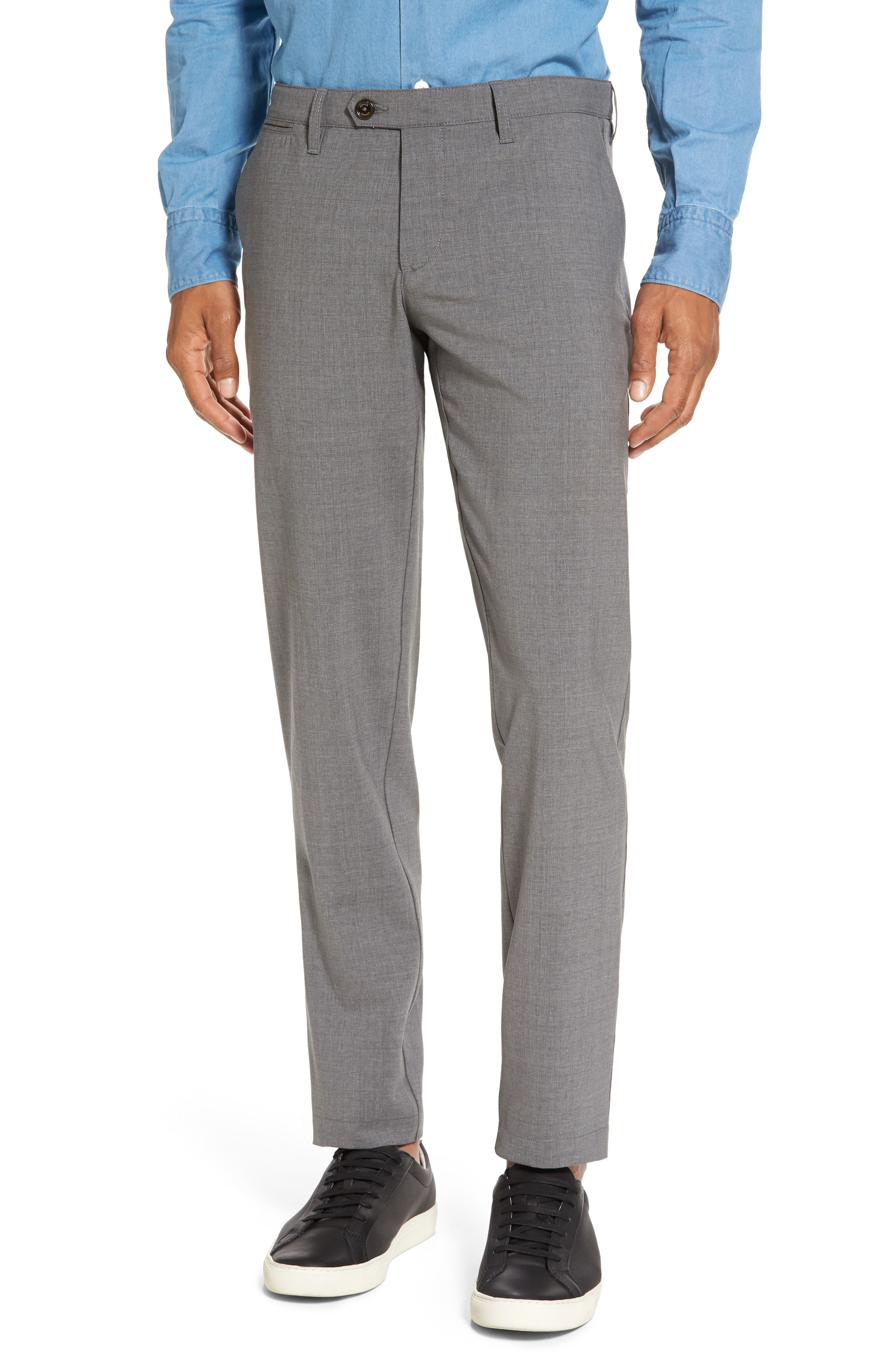 Flat Front Wool Trousers,                         Main,                         color, Medium Grey