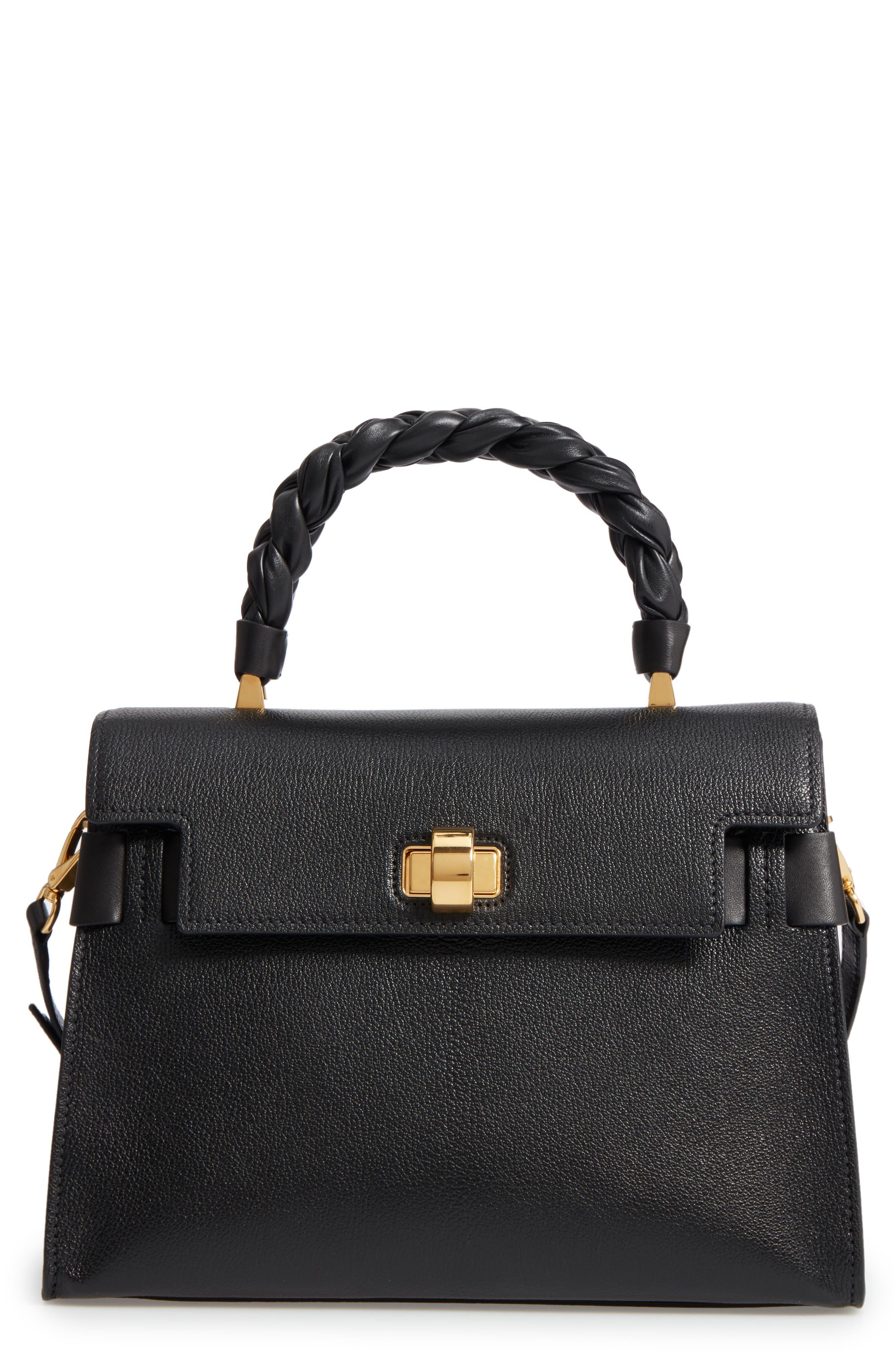 Madras Click Goatskin Leather Satchel,                         Main,                         color, Black
