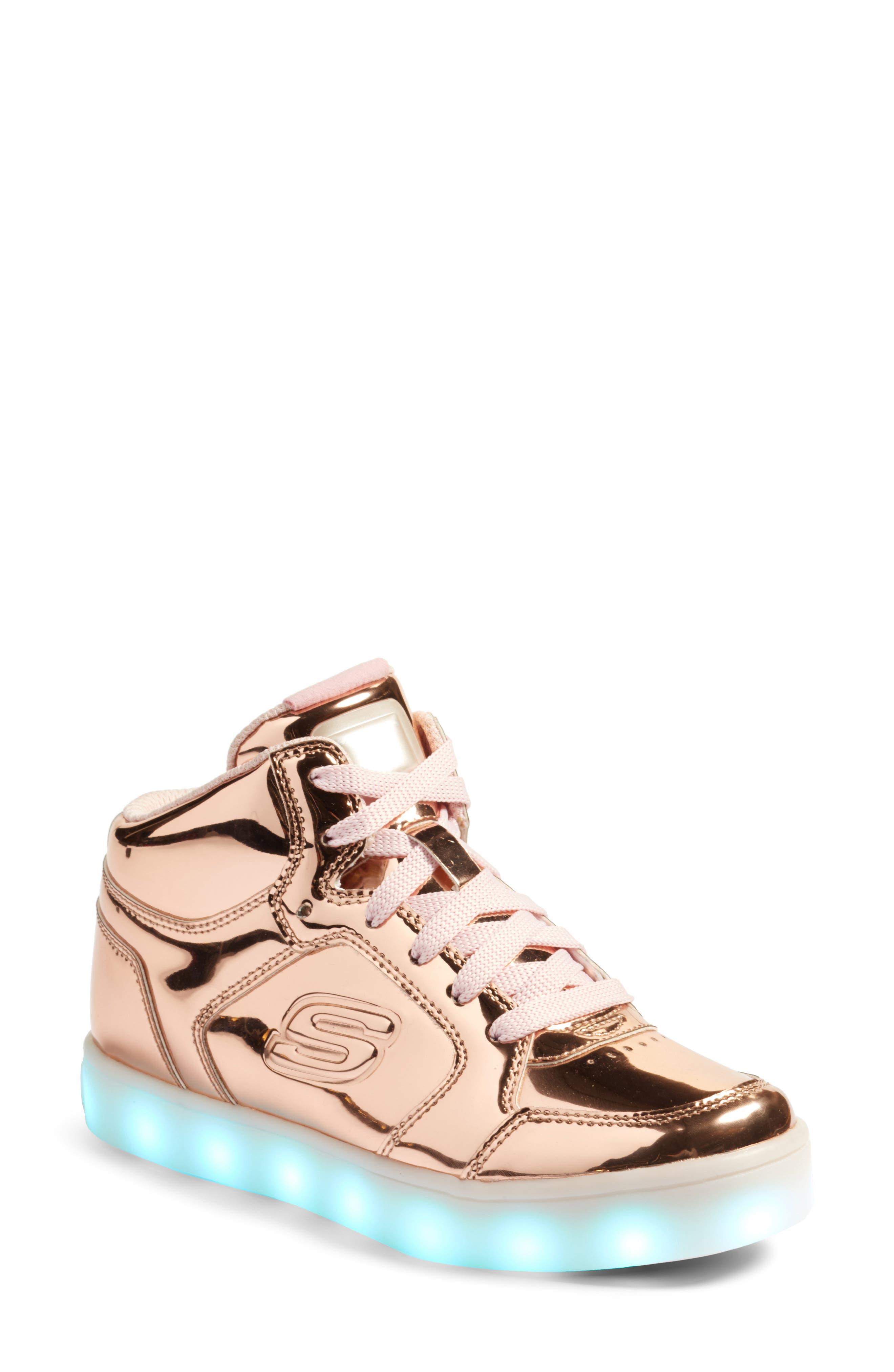 Energy Lights Metallic High Top Sneaker,                             Main thumbnail 1, color,                             Rose Gold