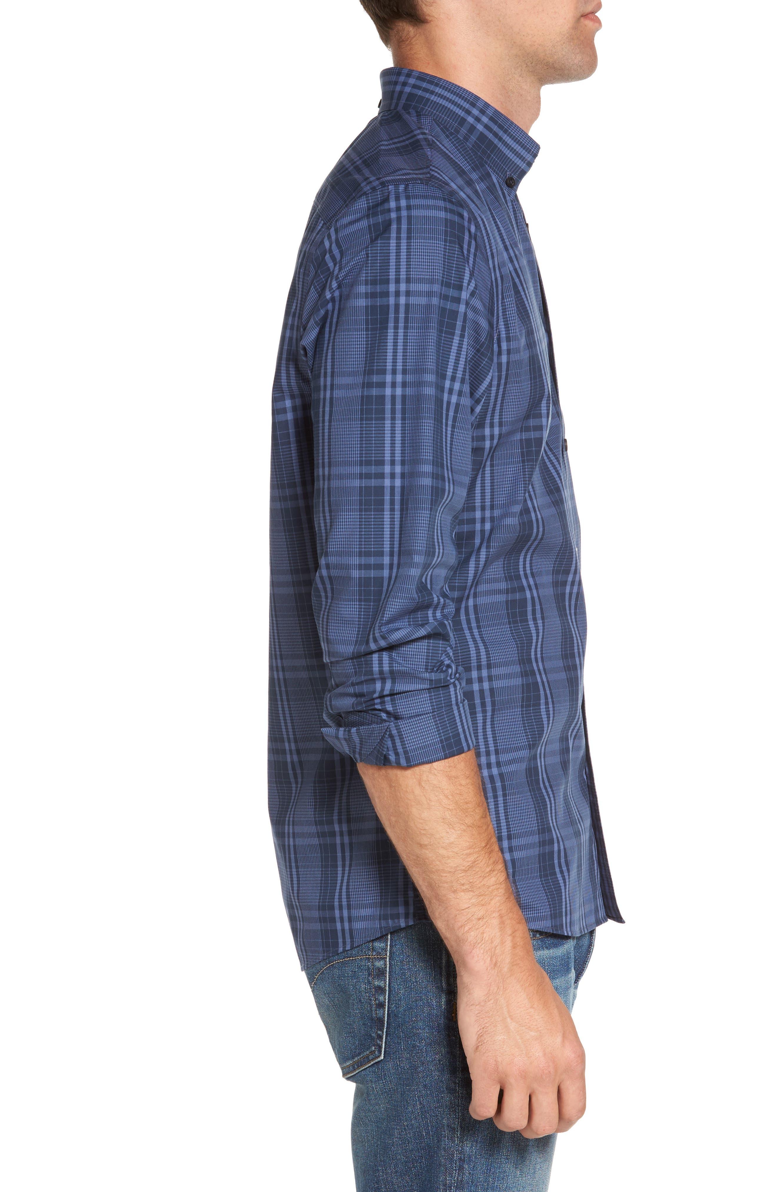 Slim Fit Plaid Sport Shirt,                             Alternate thumbnail 3, color,                             Navy Iris Blue Plaid