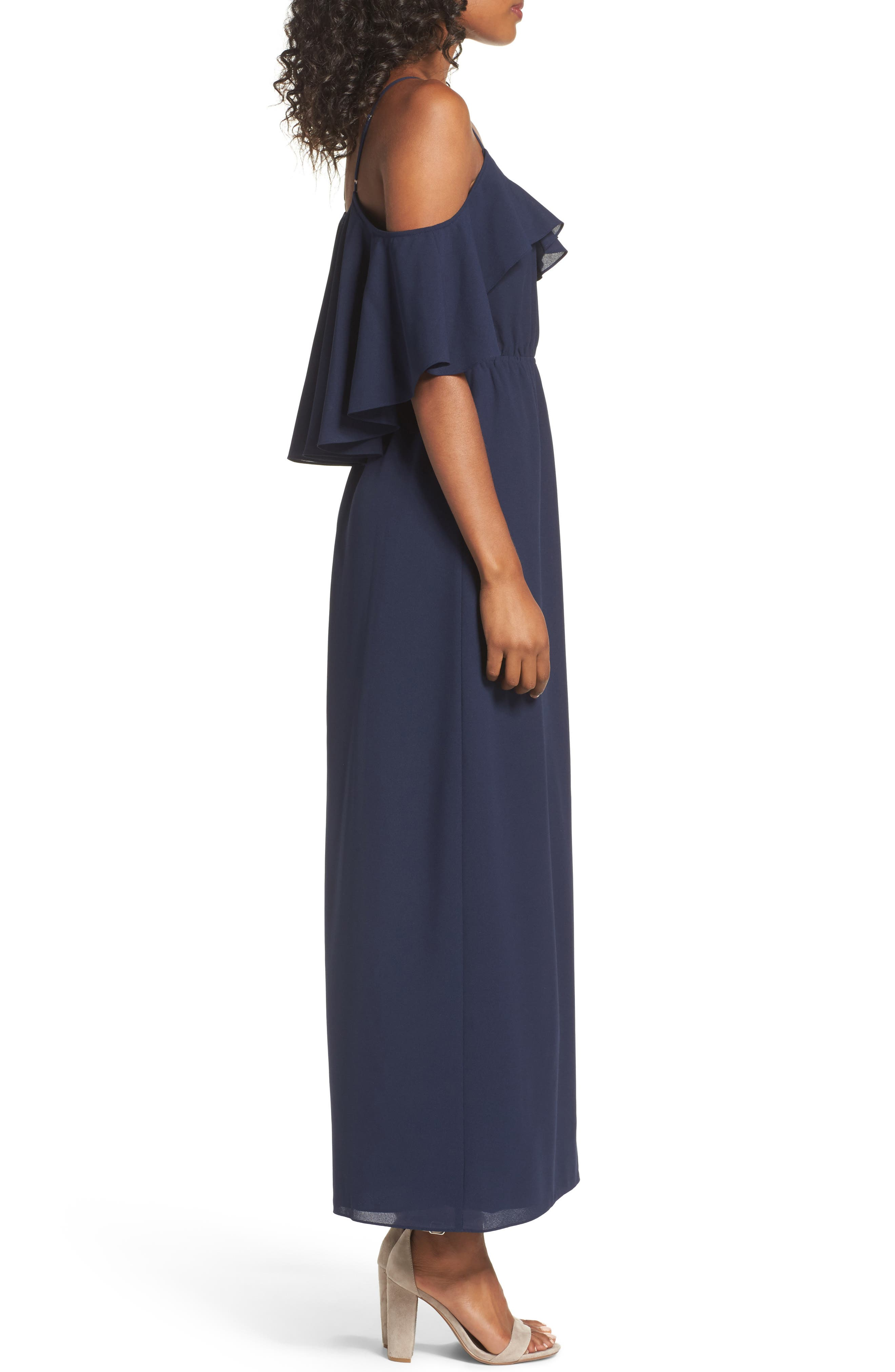 Love Story Cold Shoulder Maxi Dress,                             Alternate thumbnail 4, color,                             Navy