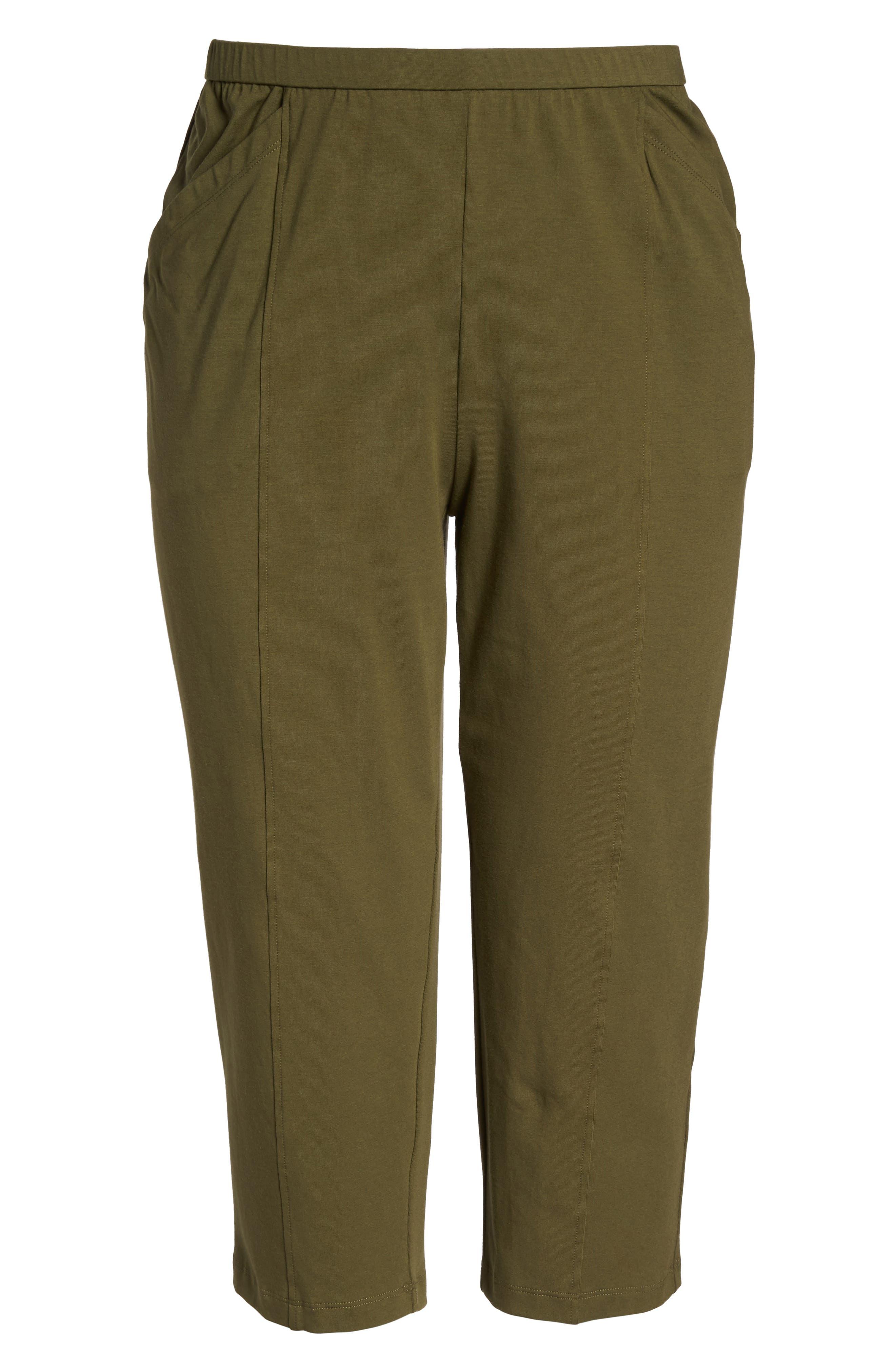 Alternate Image 6  - Eileen Fisher Stretch Organic Cotton Crop Pants (Plus Size)