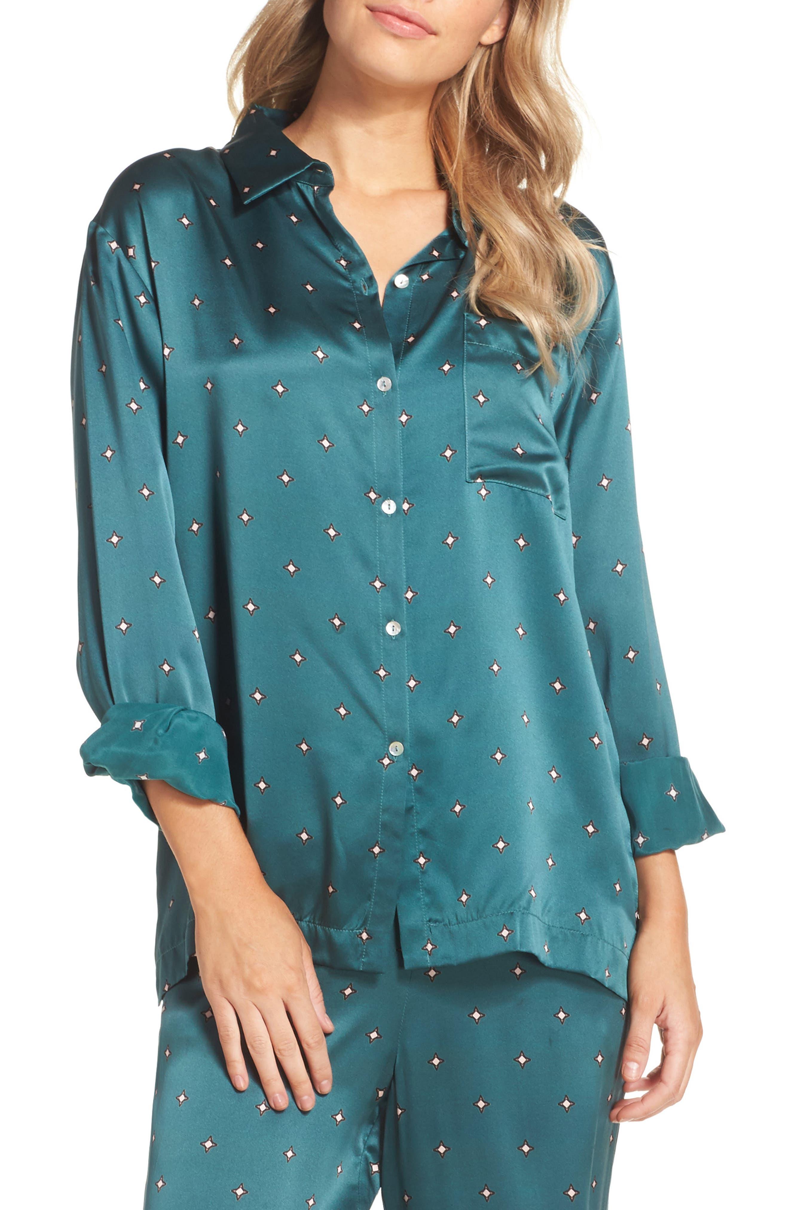 Print Silk Pajama Top,                         Main,                         color, Jade Star