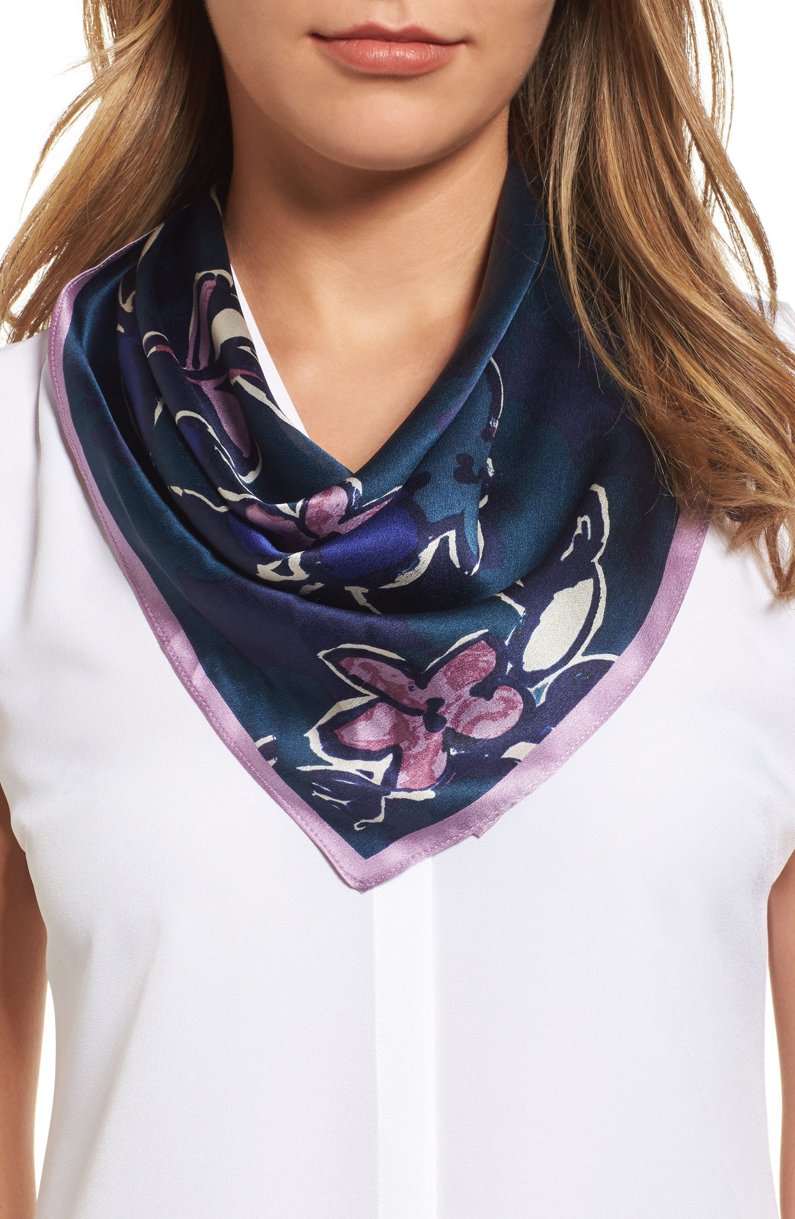 Bloom Floral Silk Square Scarf,                             Main thumbnail 1, color,                             Navy Combo