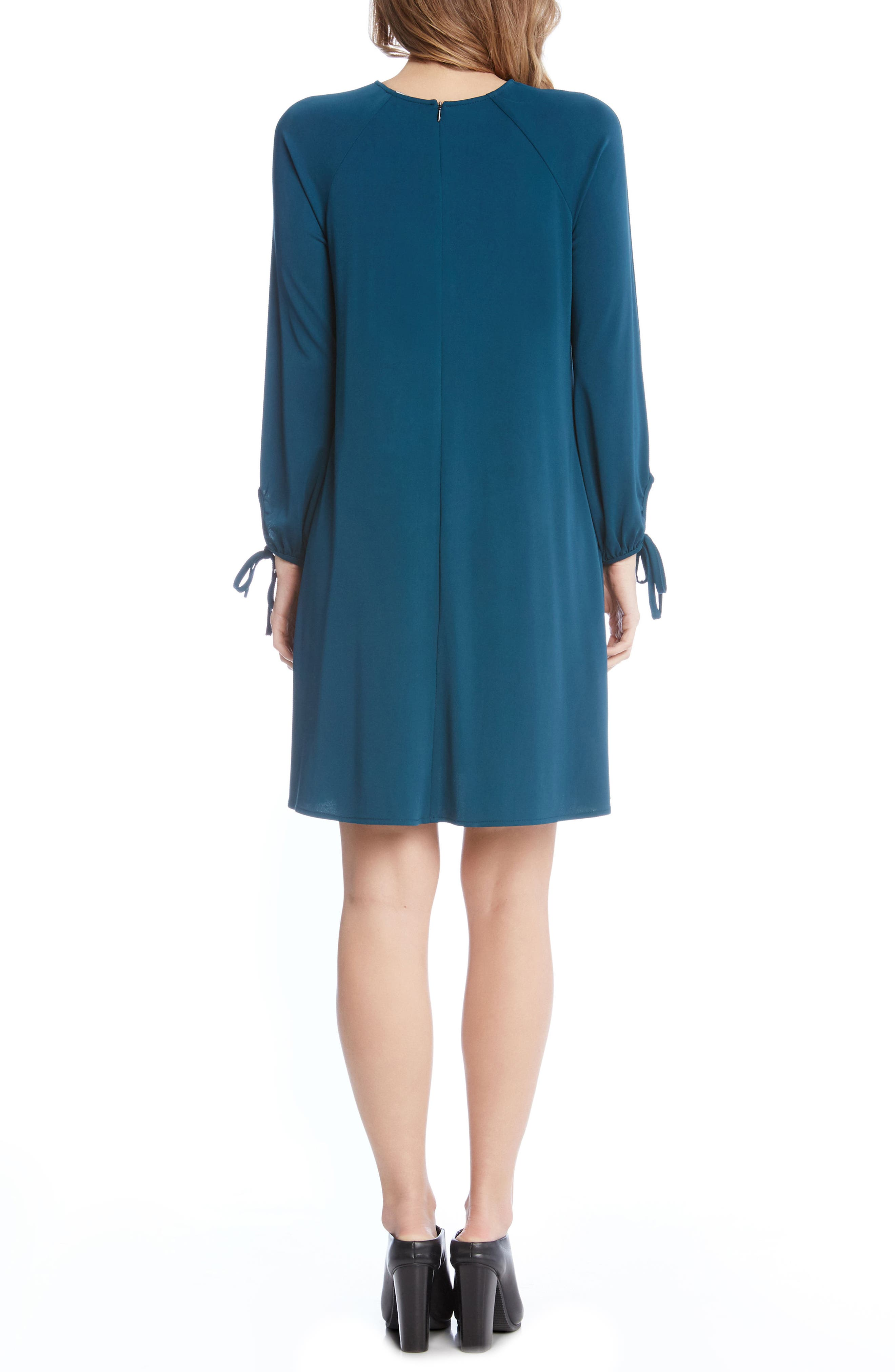 Tie Sleeve Shift Dress,                             Alternate thumbnail 3, color,                             Teal