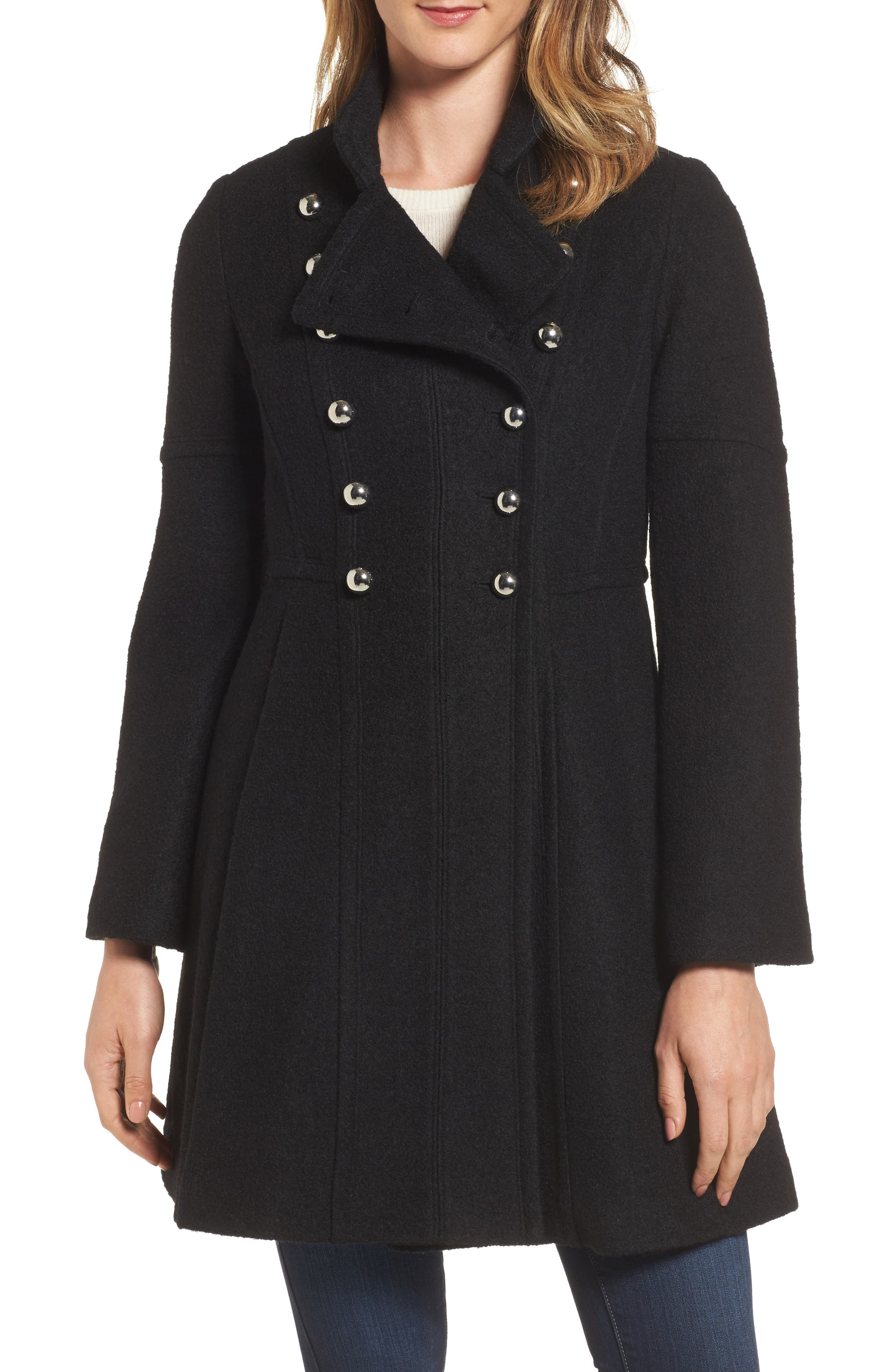 Main Image - GUESS Double Breasted Fit & Flare Coat
