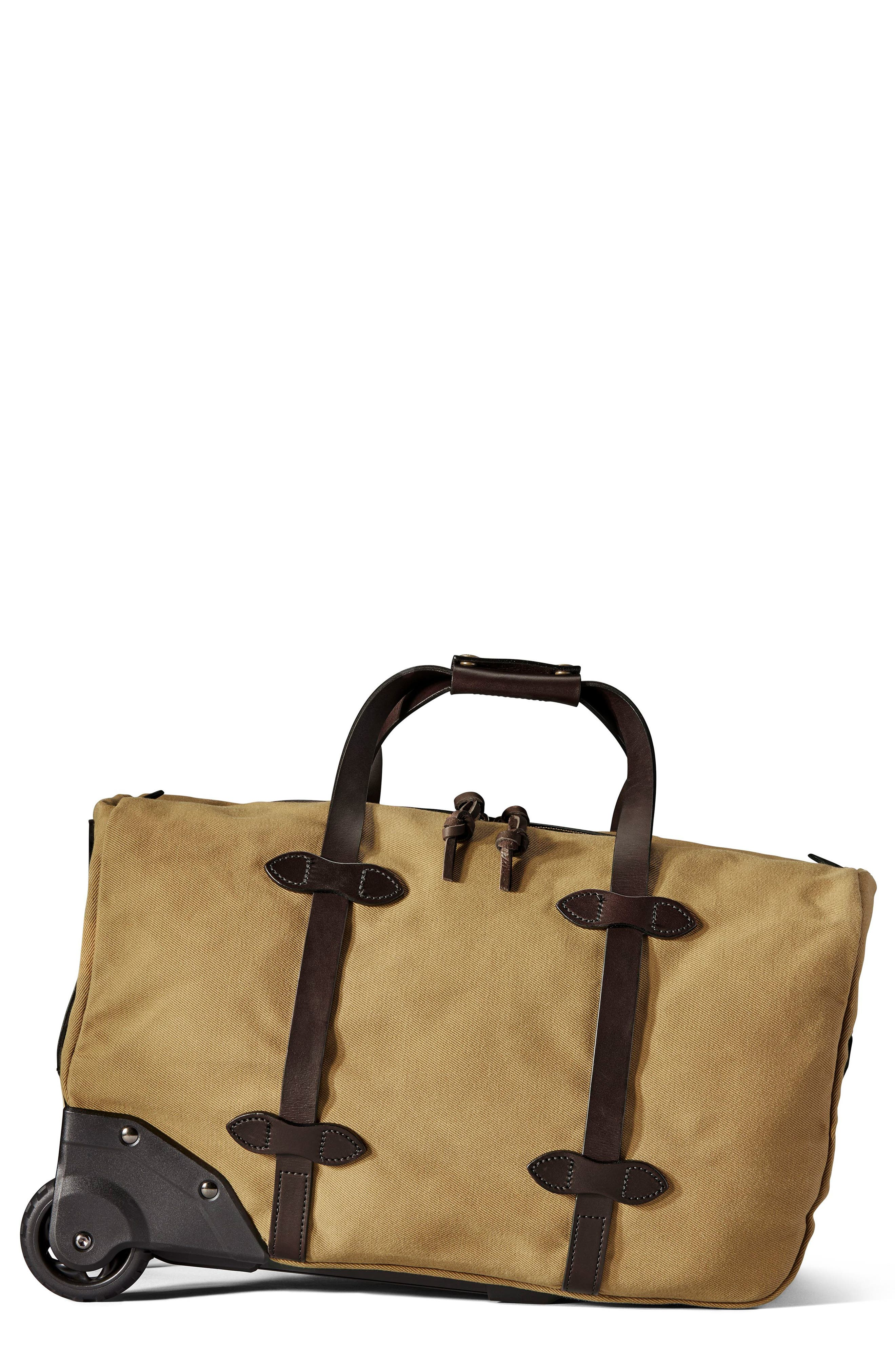 Filson Small Rolling Duffel Bag Beige In Tan