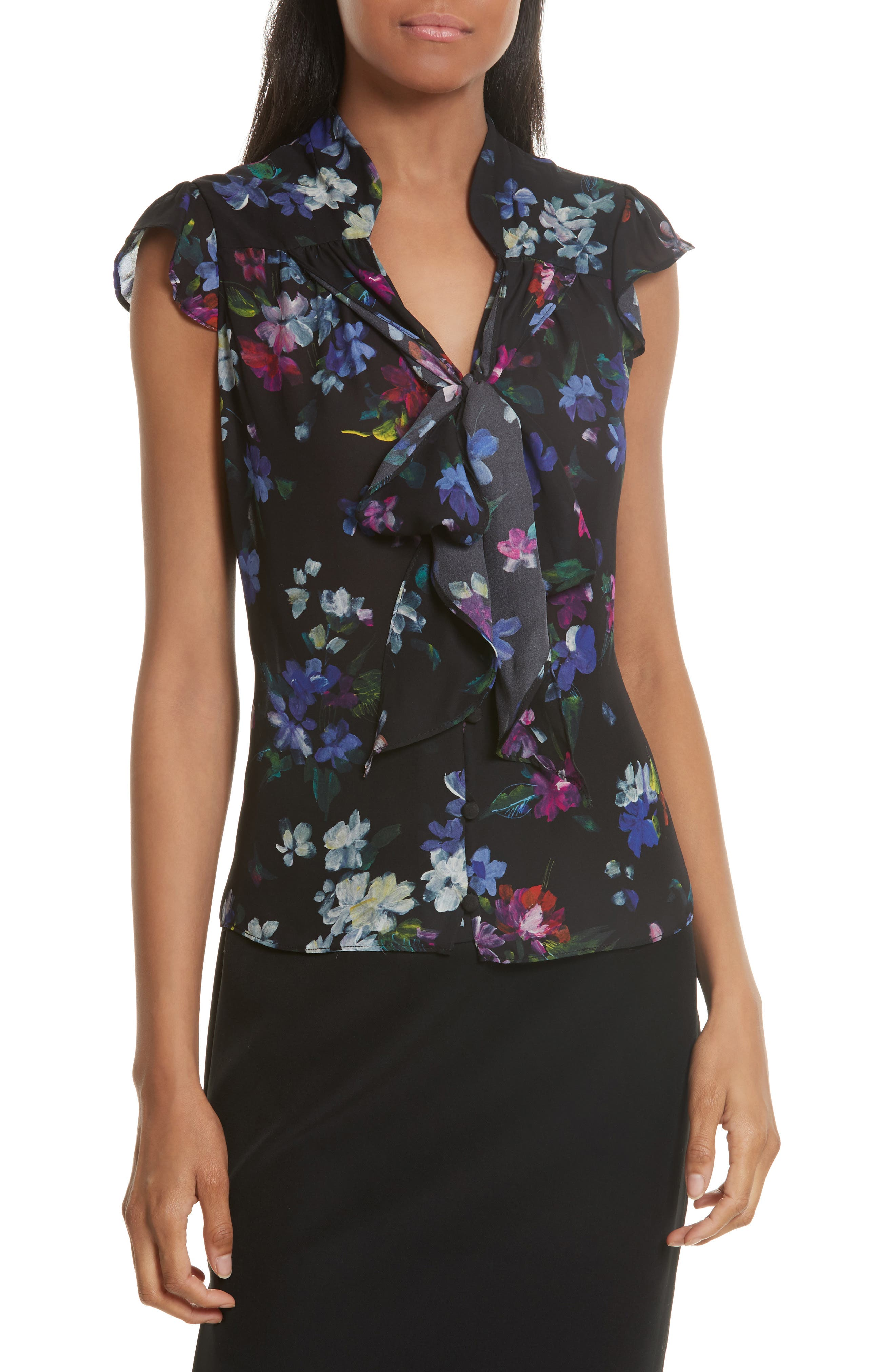 Emily Painted Floral Silk Top,                         Main,                         color, Black