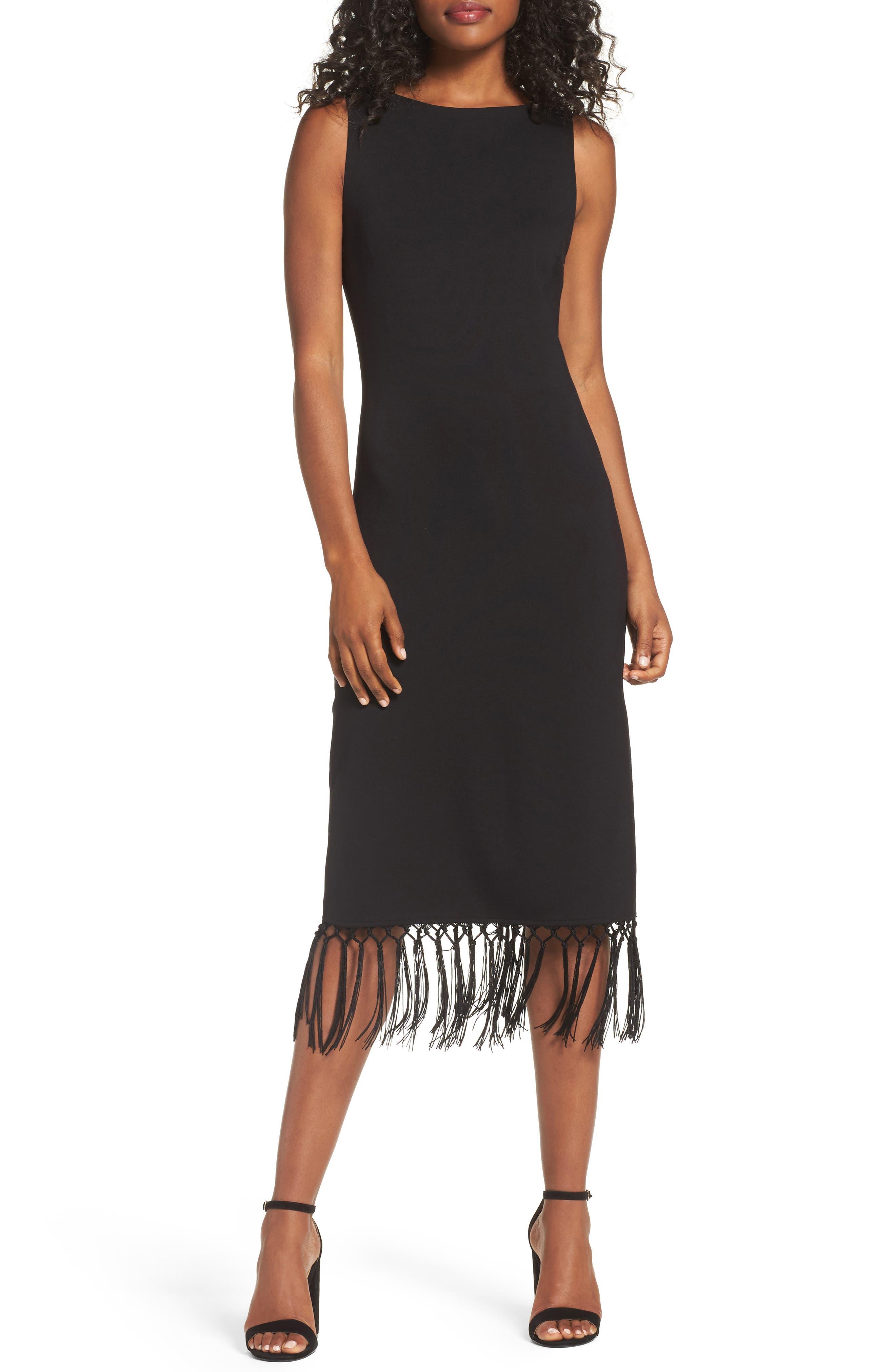 Tassel Midi Dress,                             Main thumbnail 1, color,                             Black