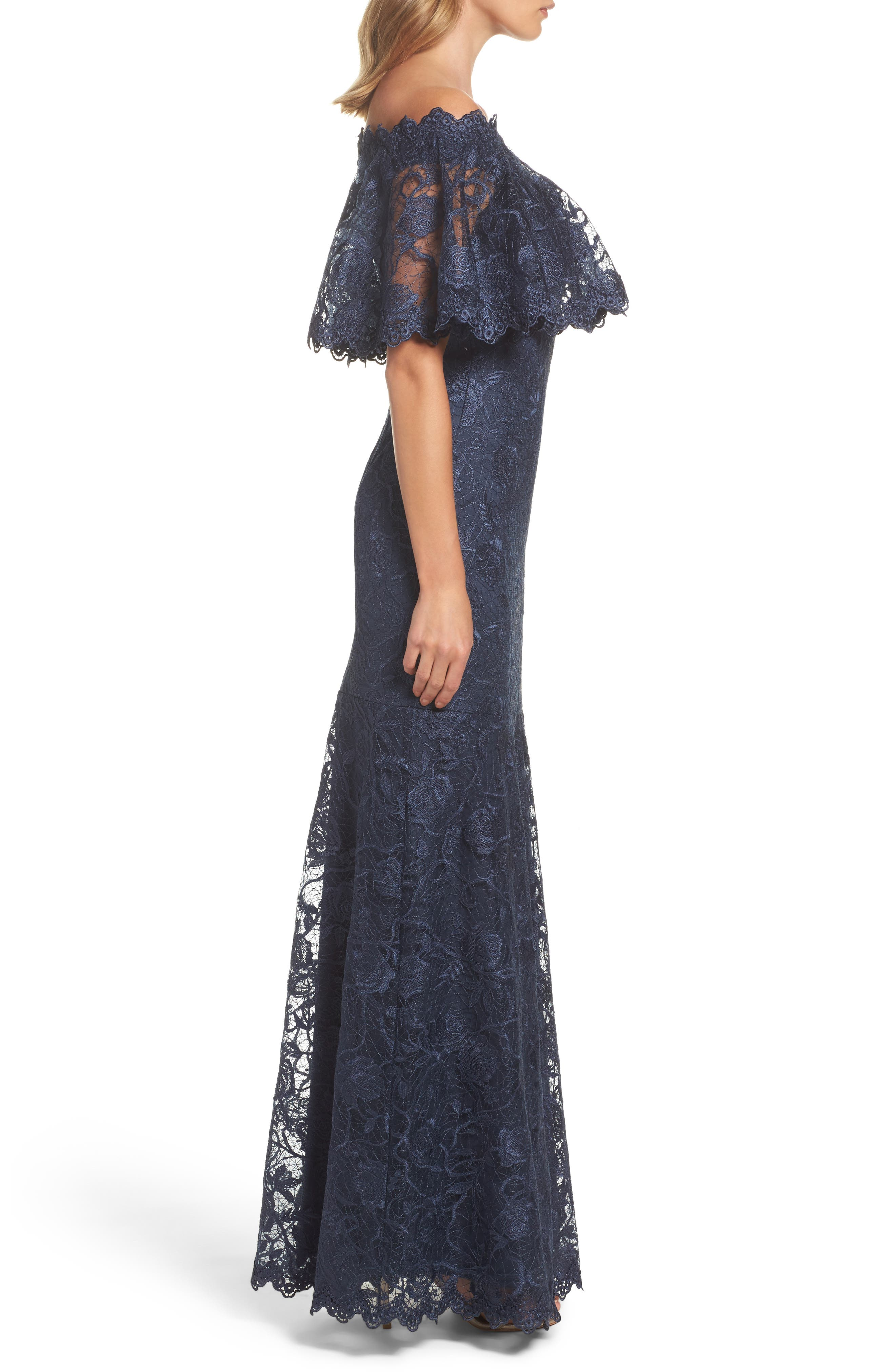 Alternate Image 3  - Tadashi Shoji Off the Shoulder Lace Gown