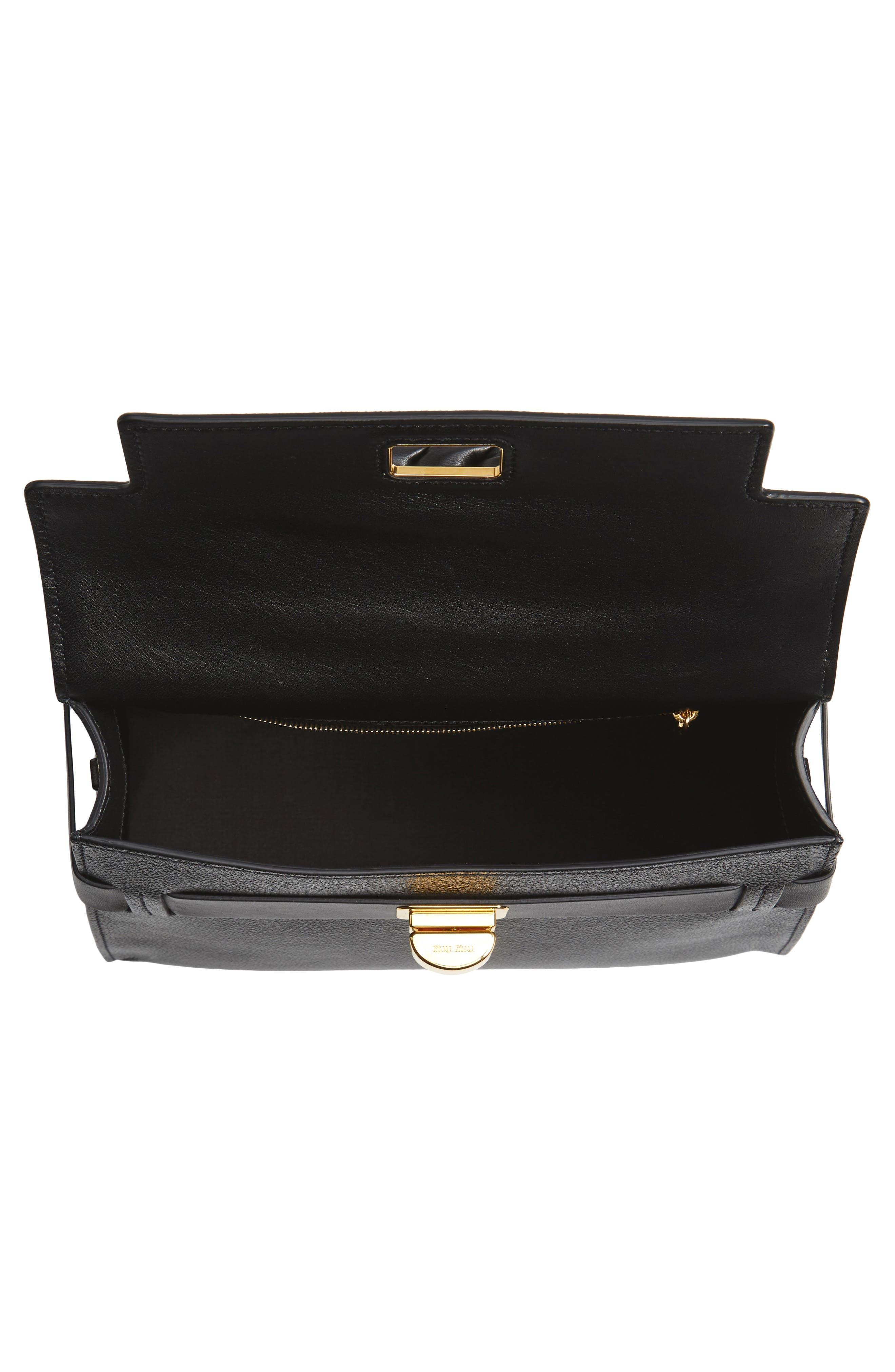 Madras Click Goatskin Leather Satchel,                             Alternate thumbnail 4, color,                             Black