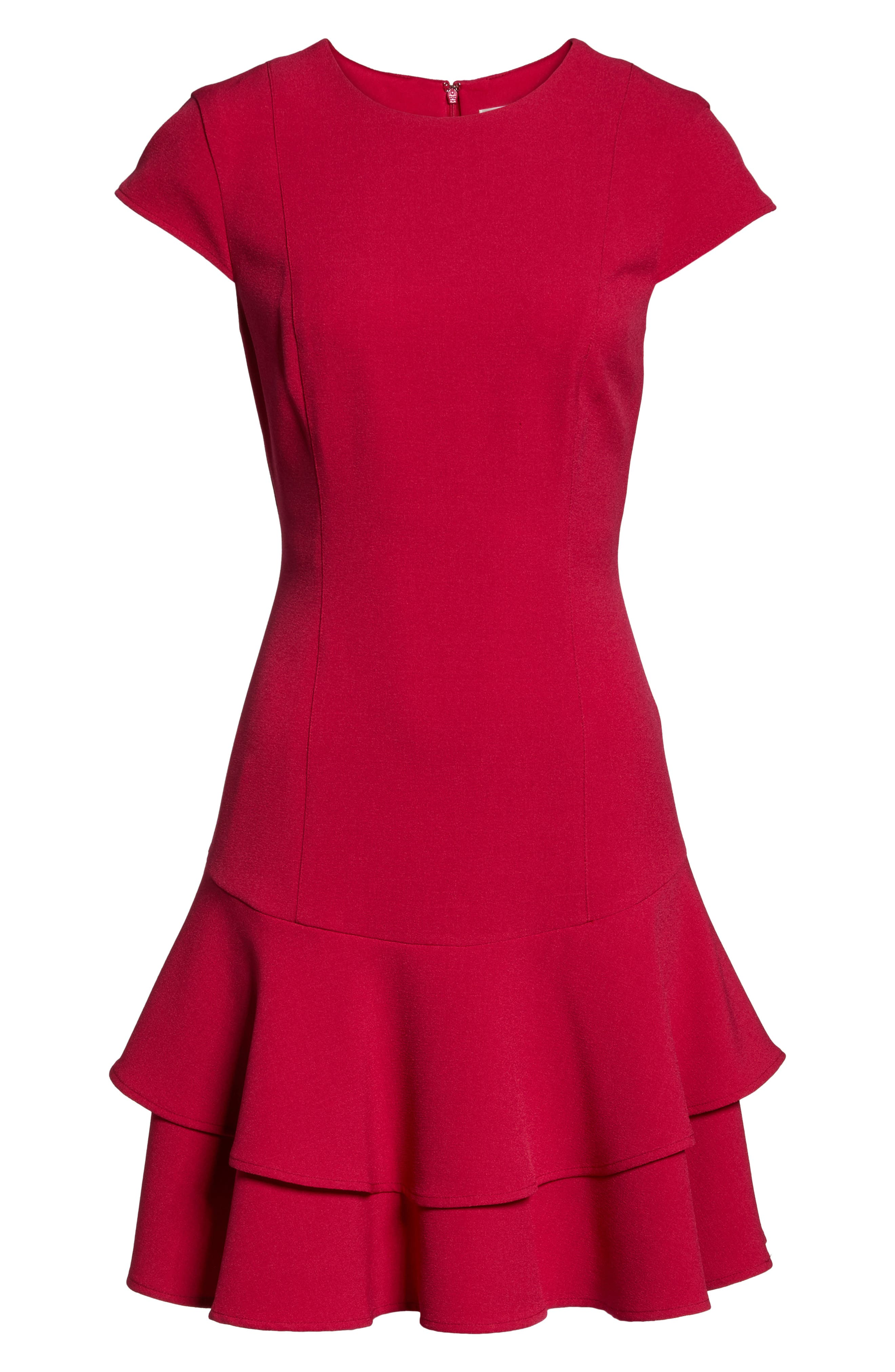 Stretch Crepe Sheath Dress,                             Alternate thumbnail 6, color,                             Berry