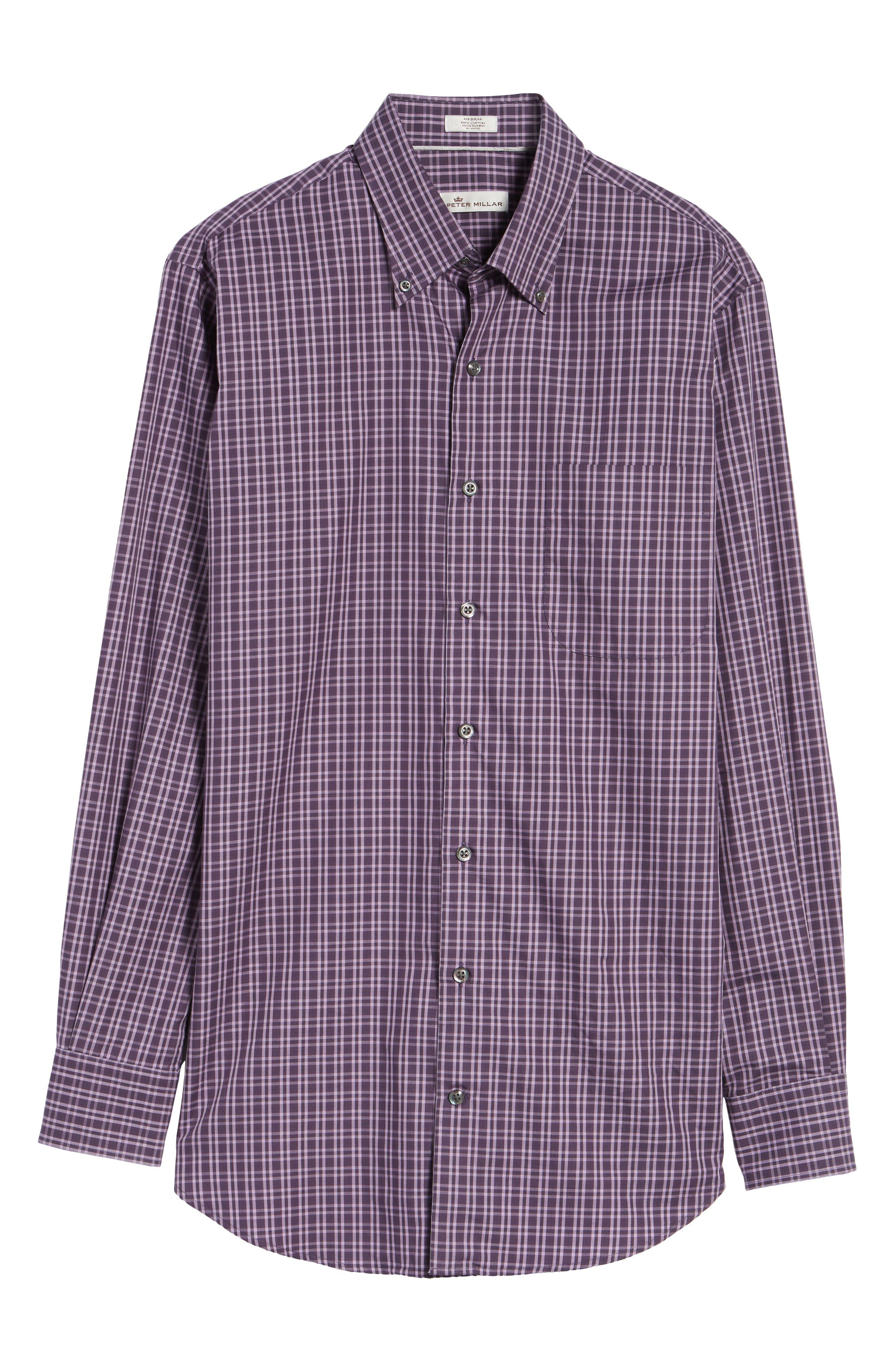Autumn Check Regular Fit Sport Shirt,                             Alternate thumbnail 6, color,                             Blackberry
