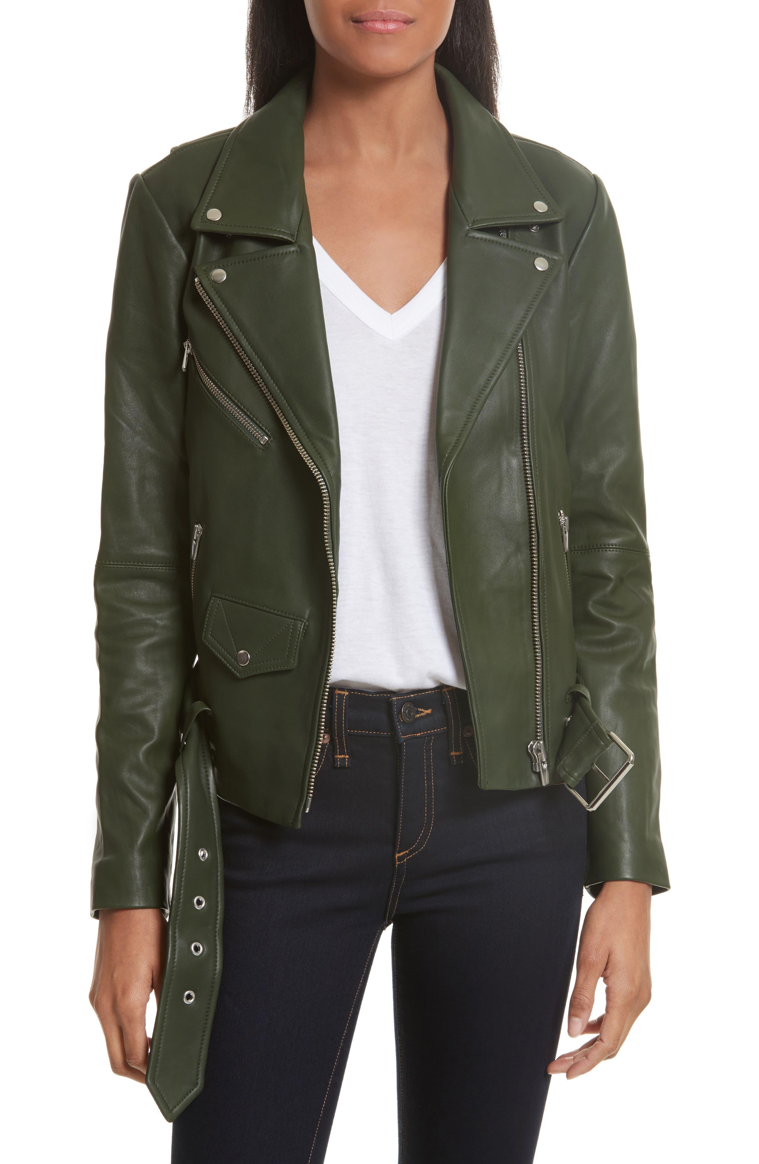 Jayne Orion Lambskin Leather Moto Jacket,                         Main,                         color, Green