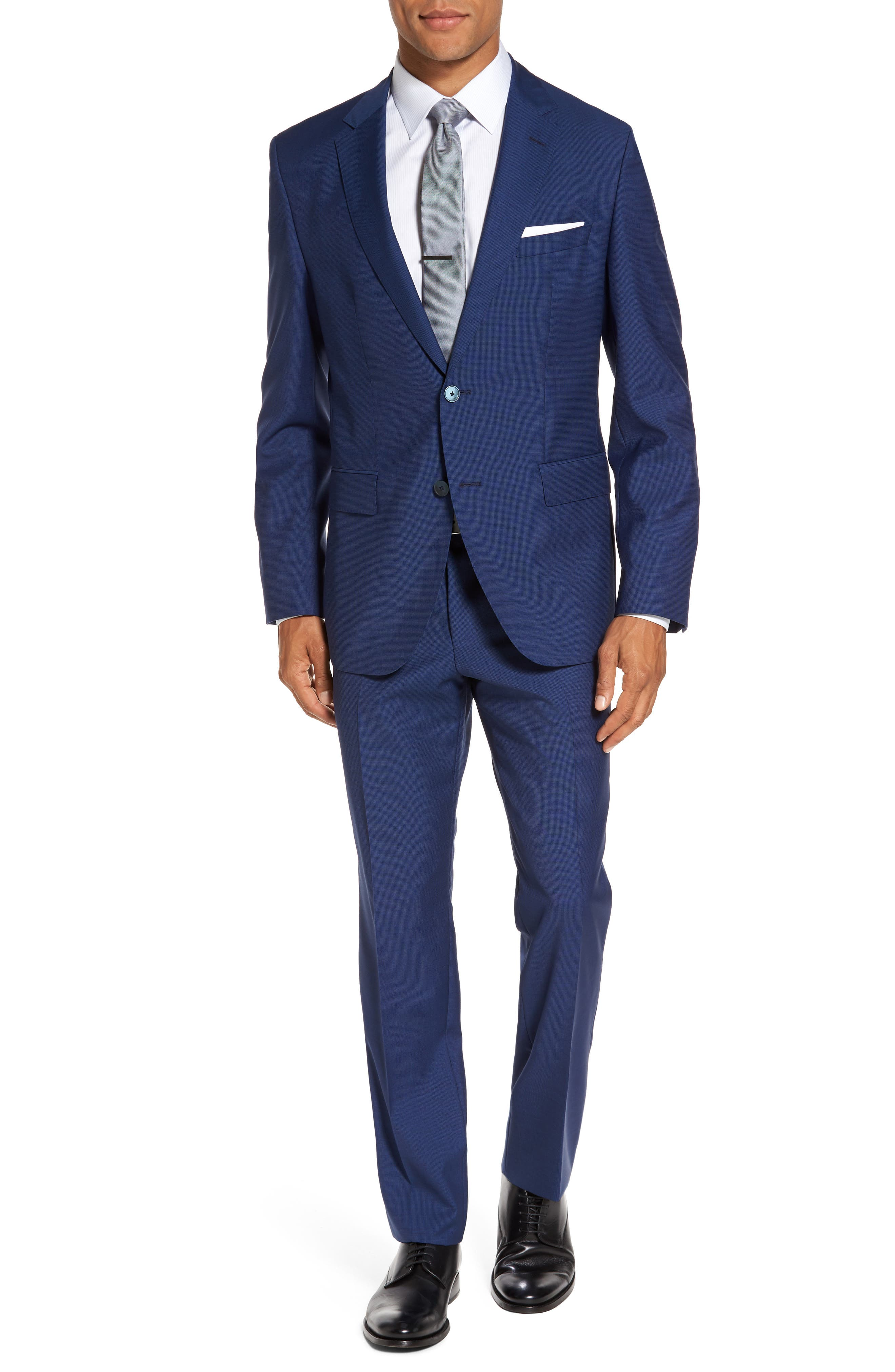 Trim Fit Solid Wool Suit,                         Main,                         color, Bright Blue