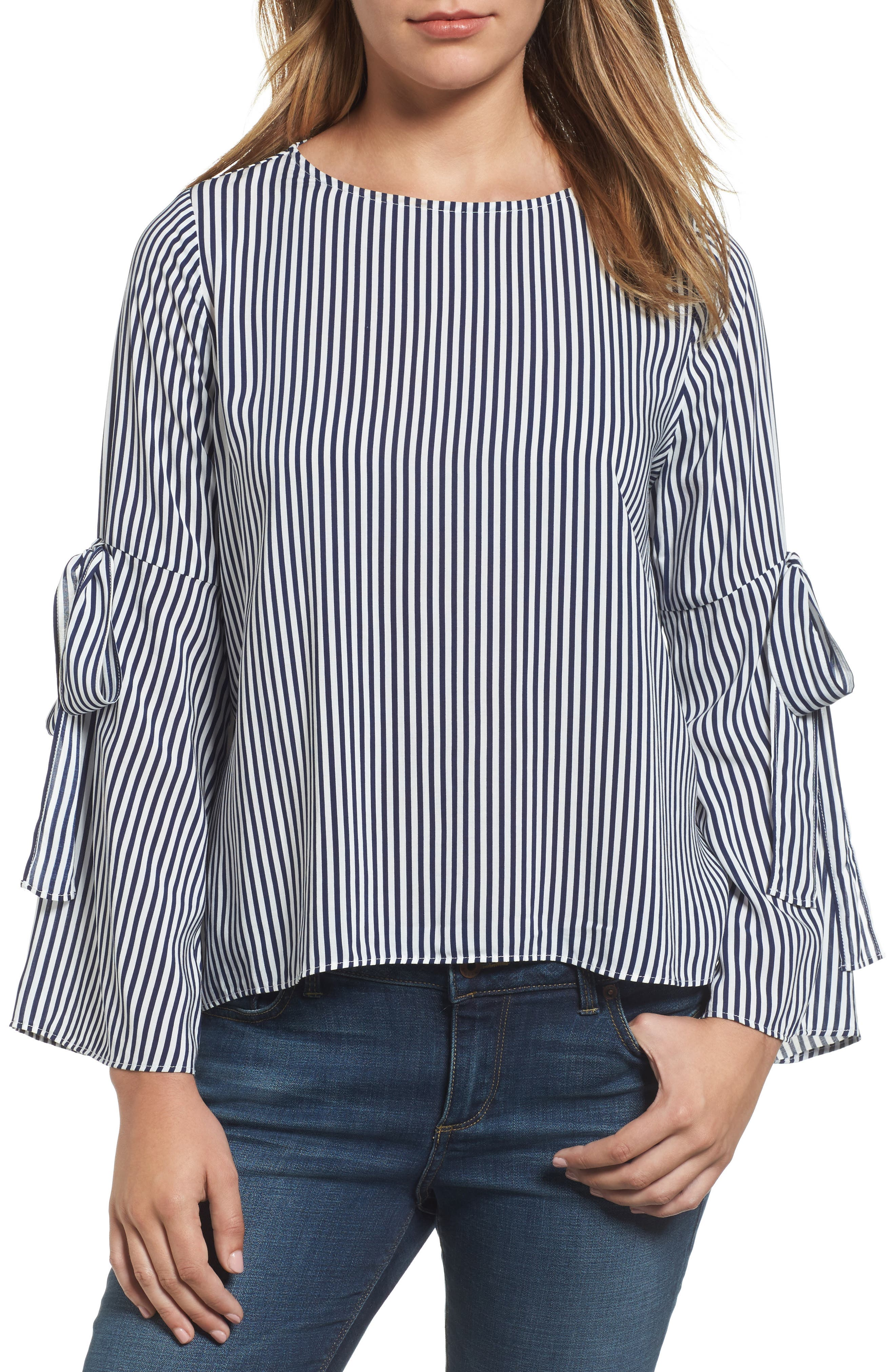 Stripe Tie Bell Sleeve Blouse,                             Main thumbnail 1, color,                             Navy/ White