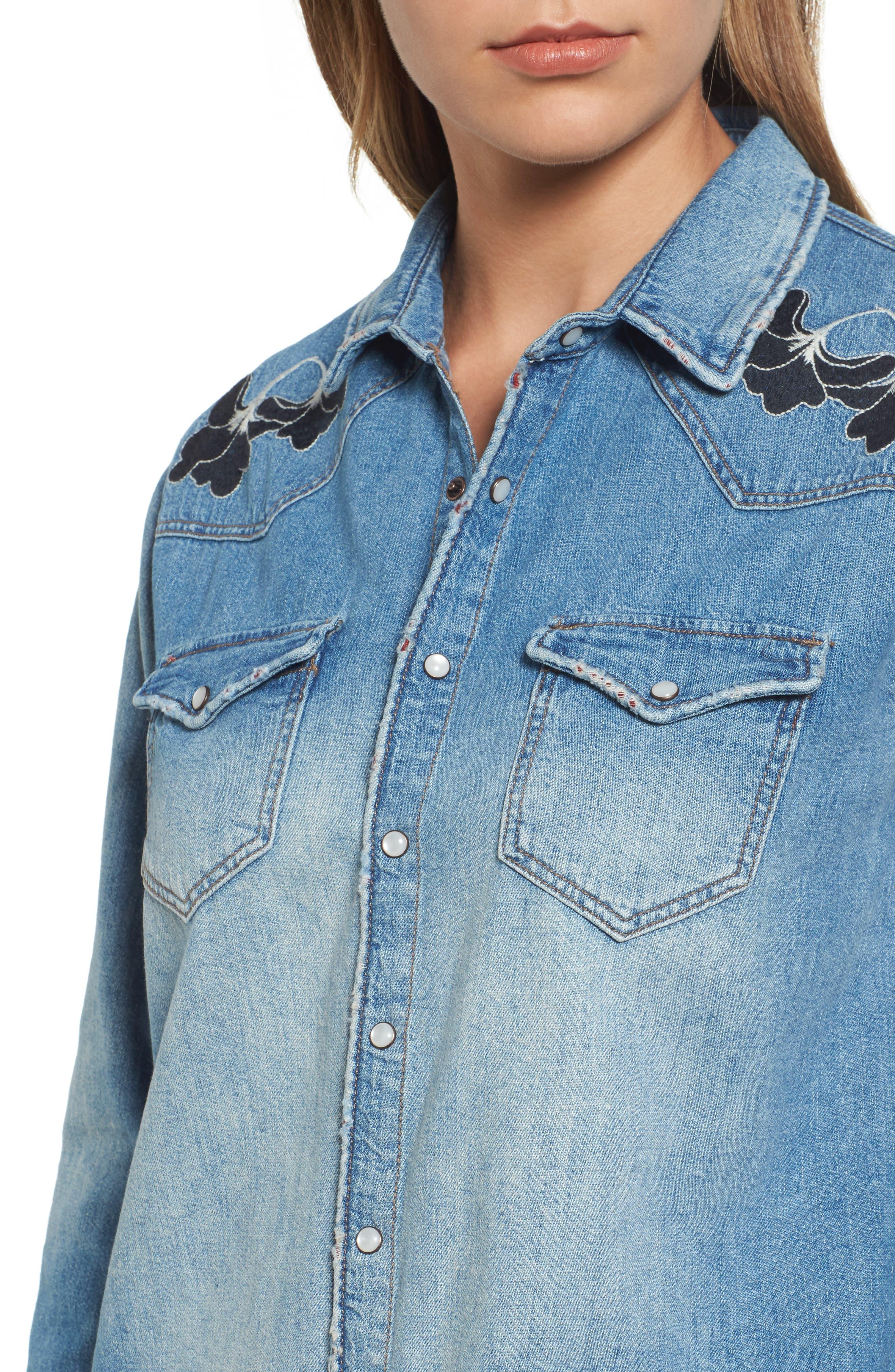 Vintage Rose Embroidered Denim Shirt,                             Alternate thumbnail 4, color,                             Vintage Rose Embroidery