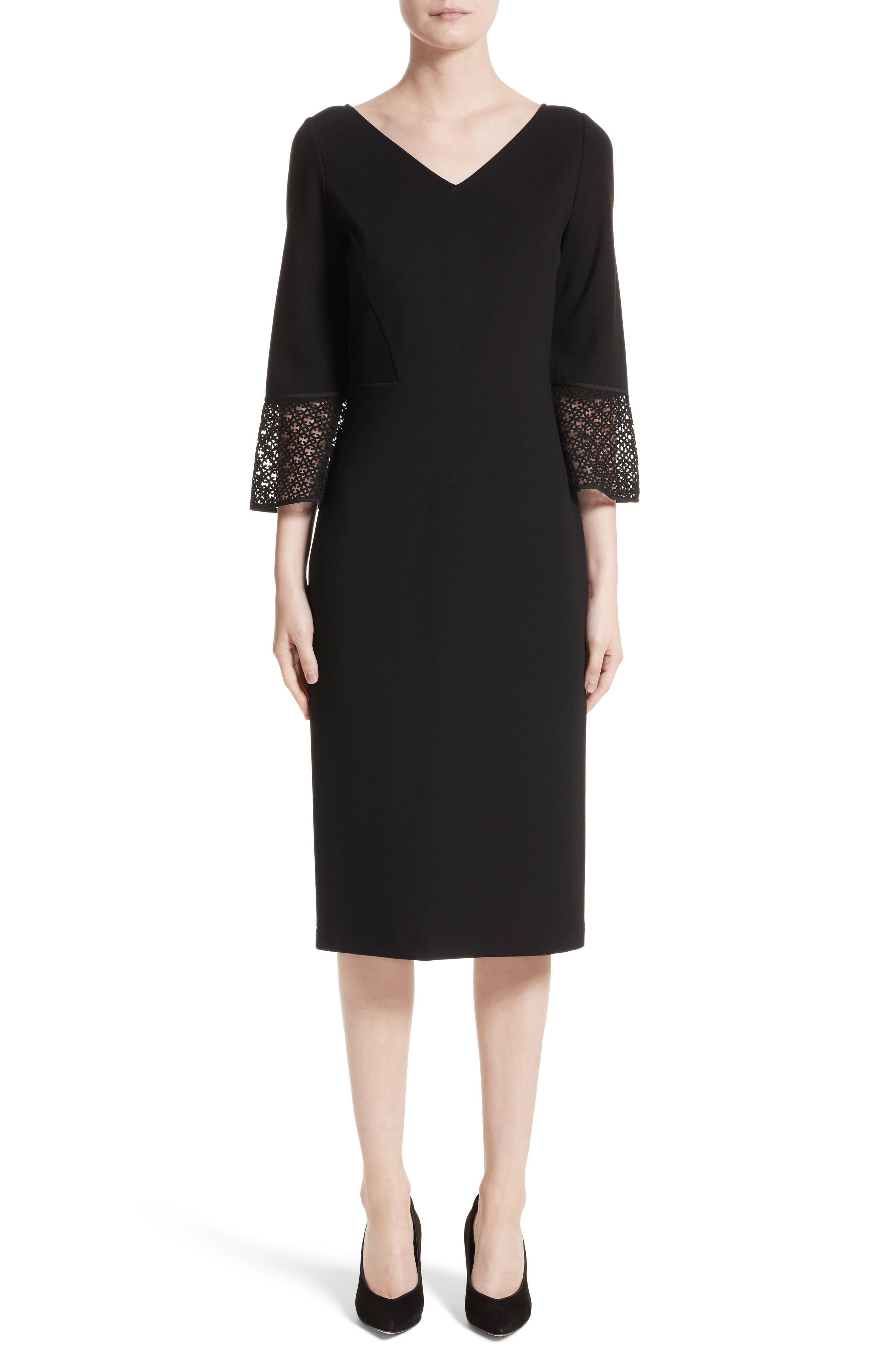 Lace Trim Sheath Dress,                             Main thumbnail 1, color,                             Black