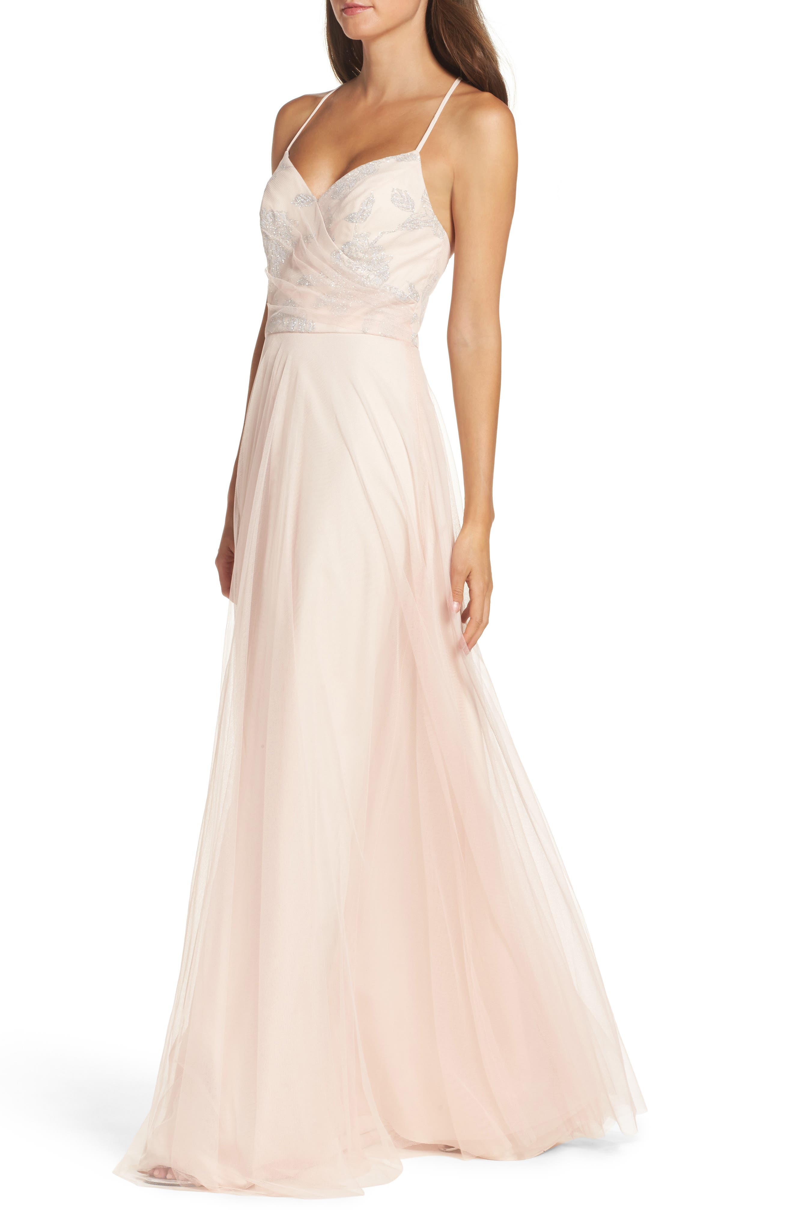 Alternate Image 4  - Hayley Paige Occasions Embellished Bodice Net Halter Gown