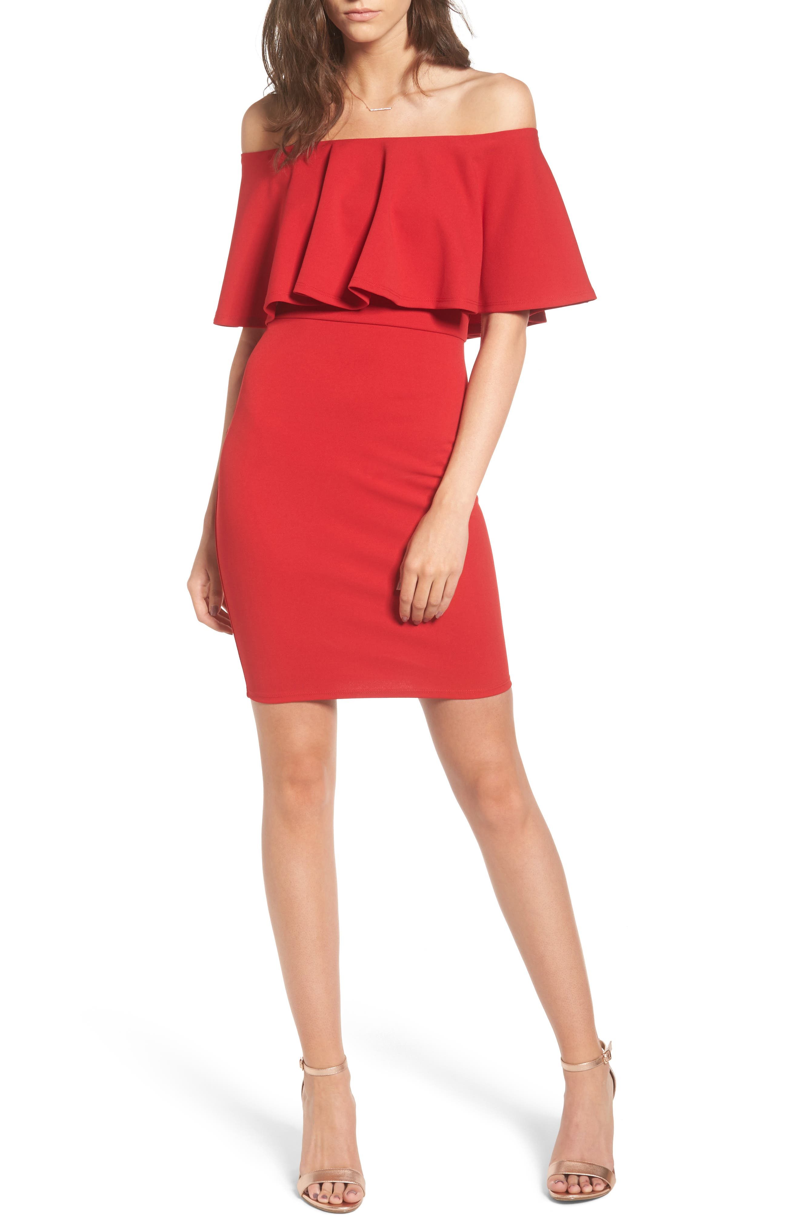 Ruffle Off the Shoulder Body-Con Dress,                             Main thumbnail 1, color,                             African Red