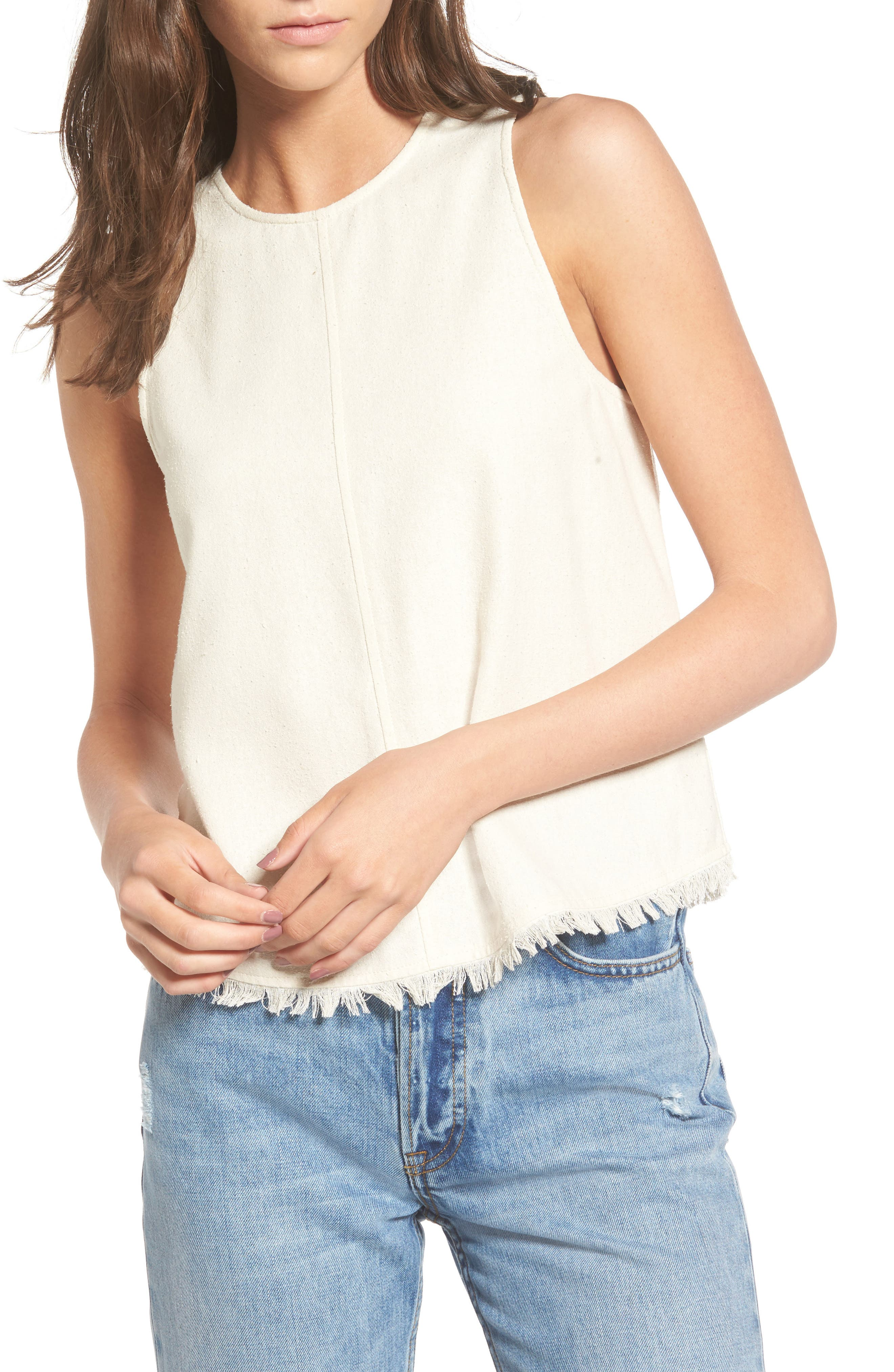 EVIDNT Shredded Hem Washed Silk Tank
