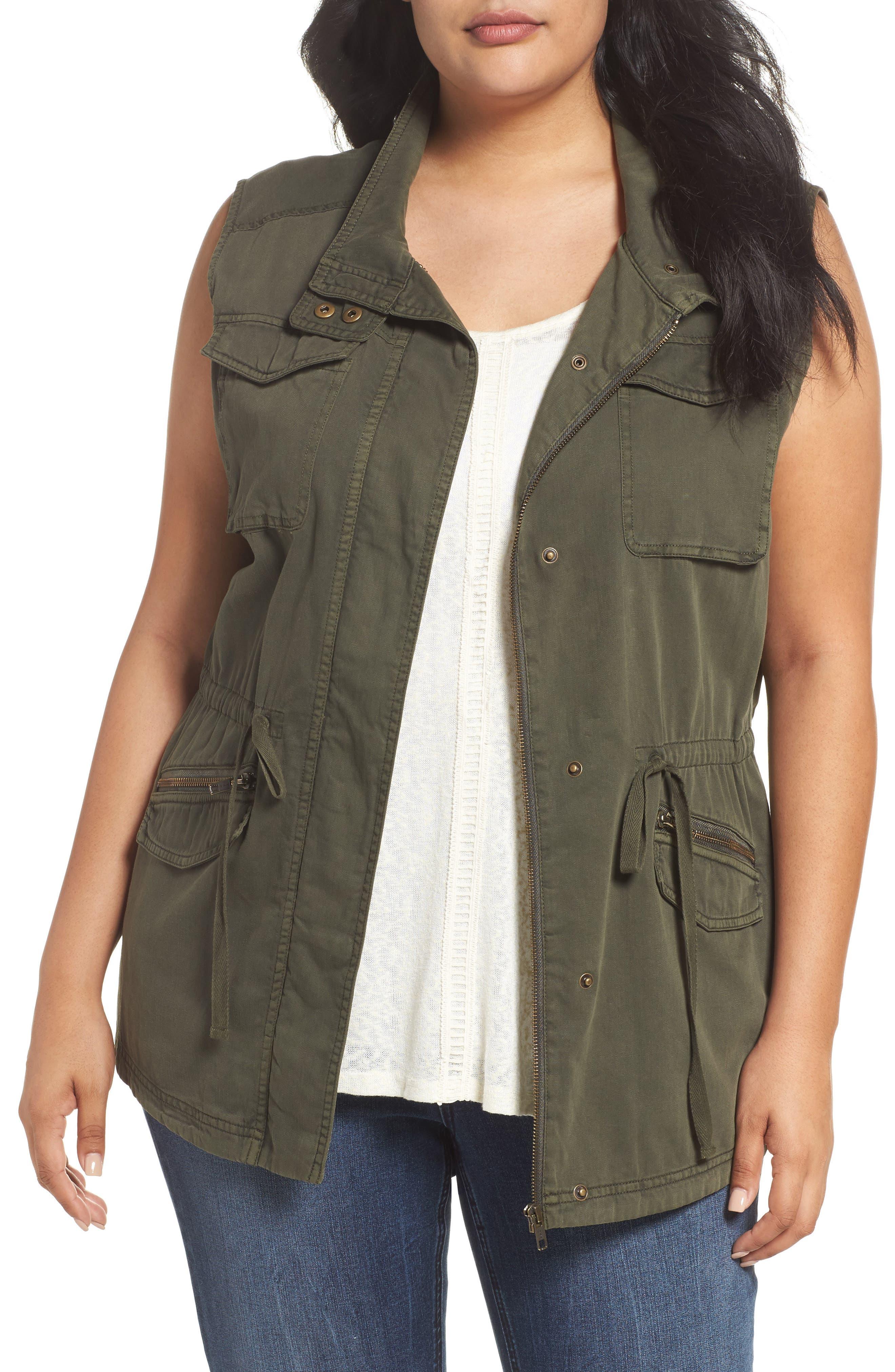 Caslon® Utility Vest (Plus Size)