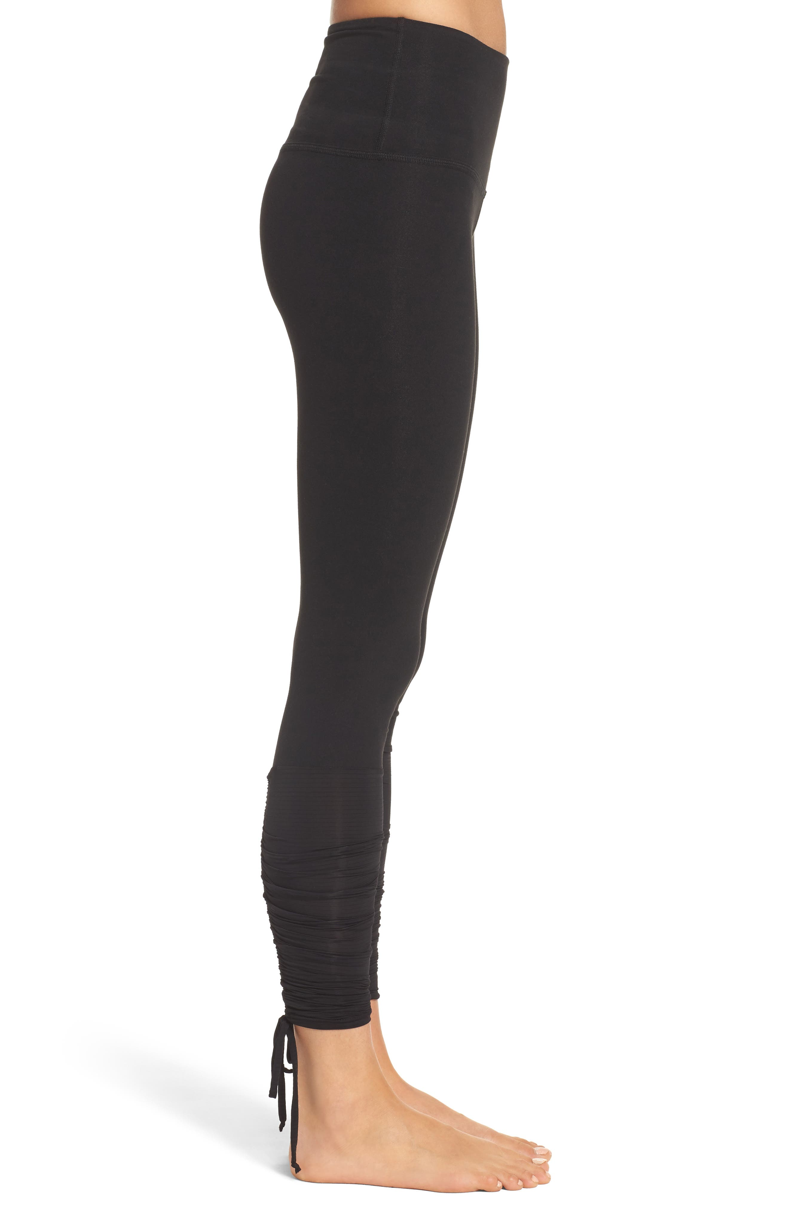 Shirred Hem Leggings,                             Alternate thumbnail 3, color,                             Black
