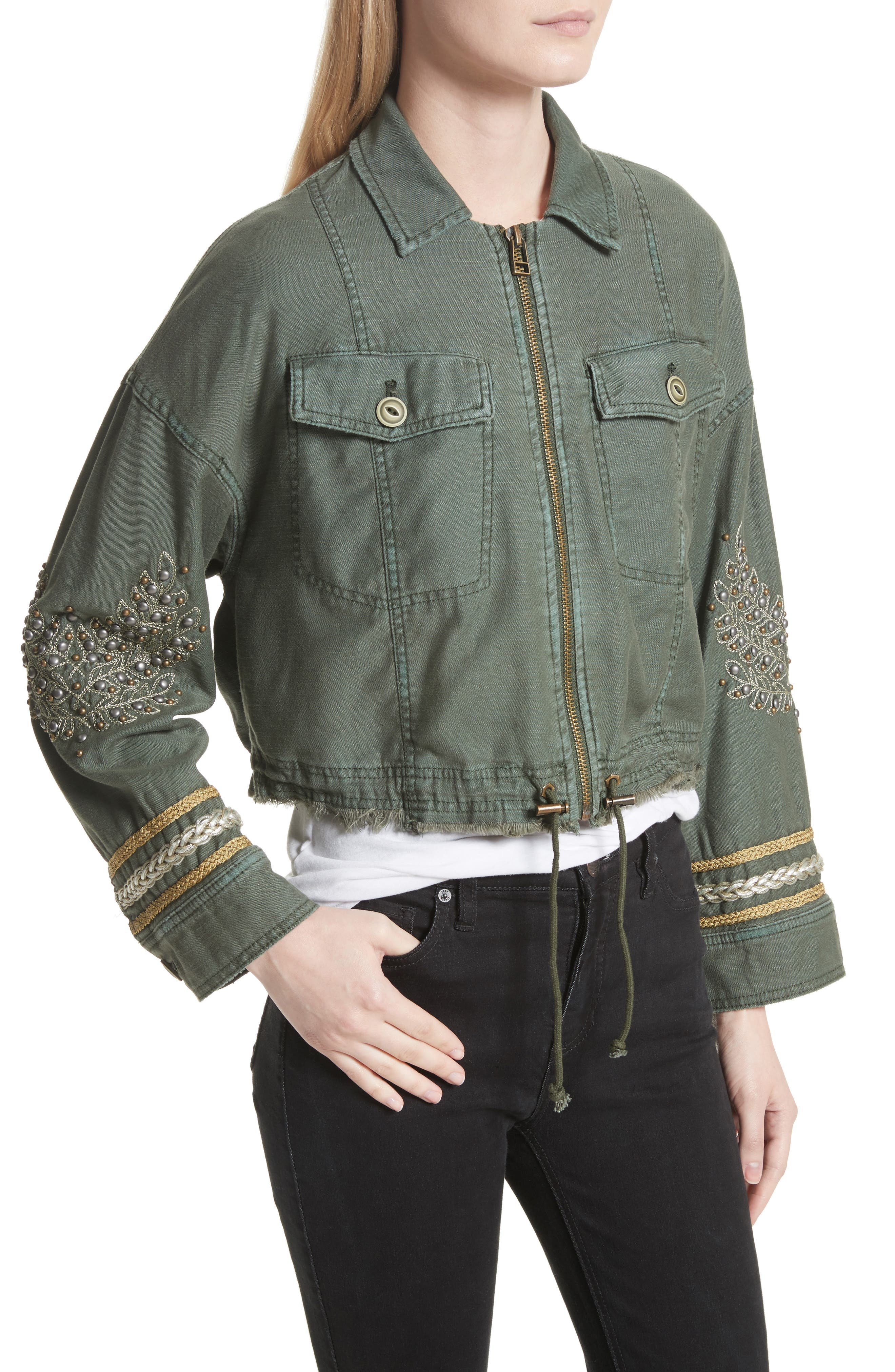 Crop Military Jacket,                             Alternate thumbnail 3, color,                             Moss