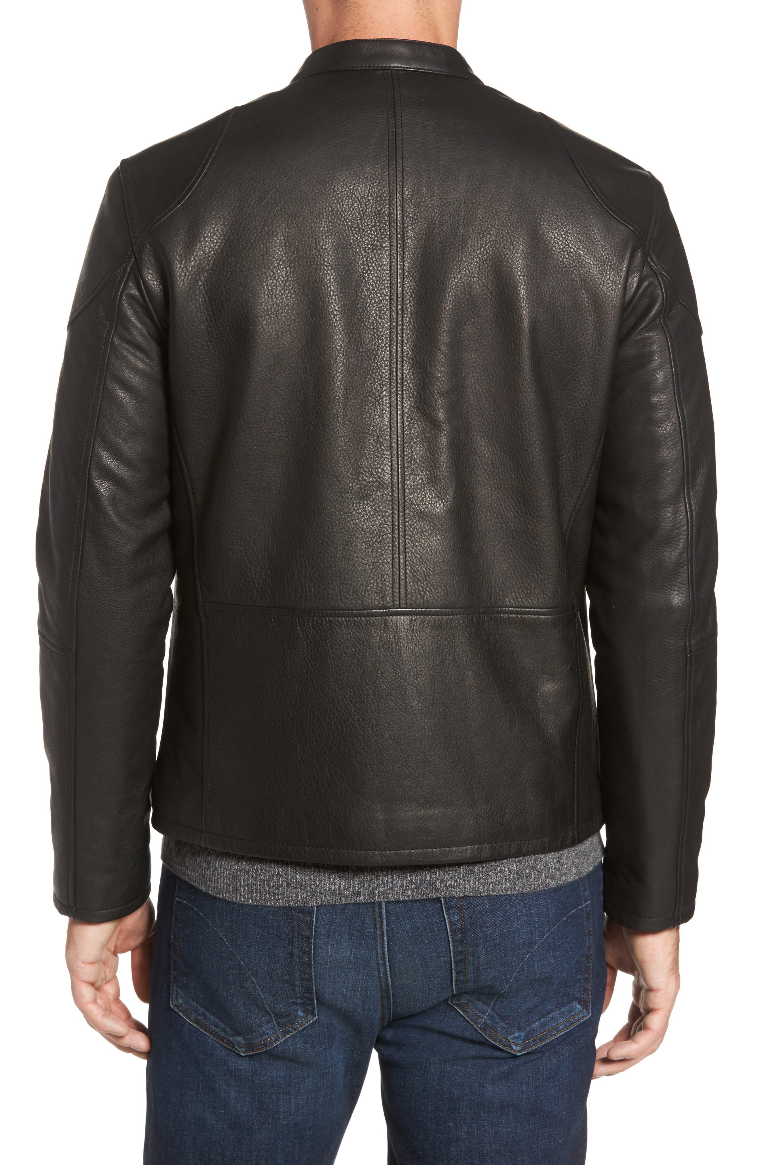 Leather Zip Front Moto Jacket,                             Alternate thumbnail 2, color,                             Black