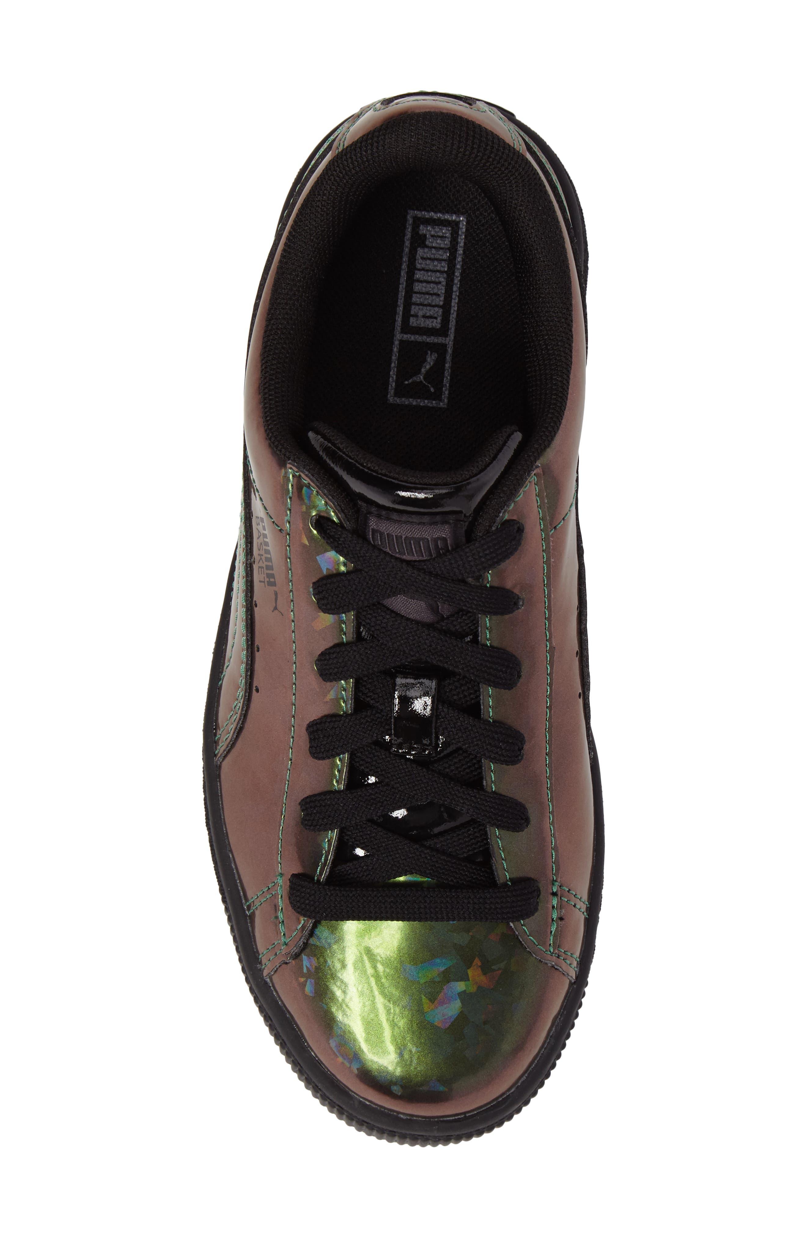 Basket Classic Holo PS Sneaker,                             Alternate thumbnail 5, color,                             Black/ Black