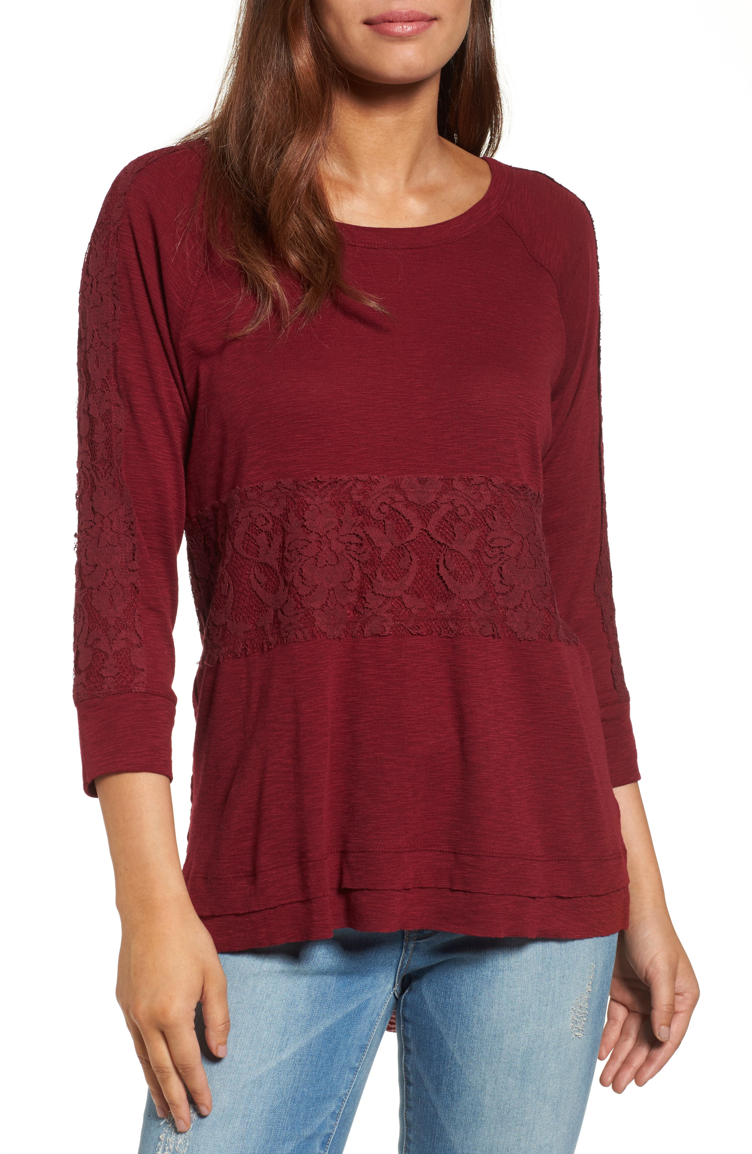 WIT & WISDOM Lace Trim Asymmetrical Hem Top