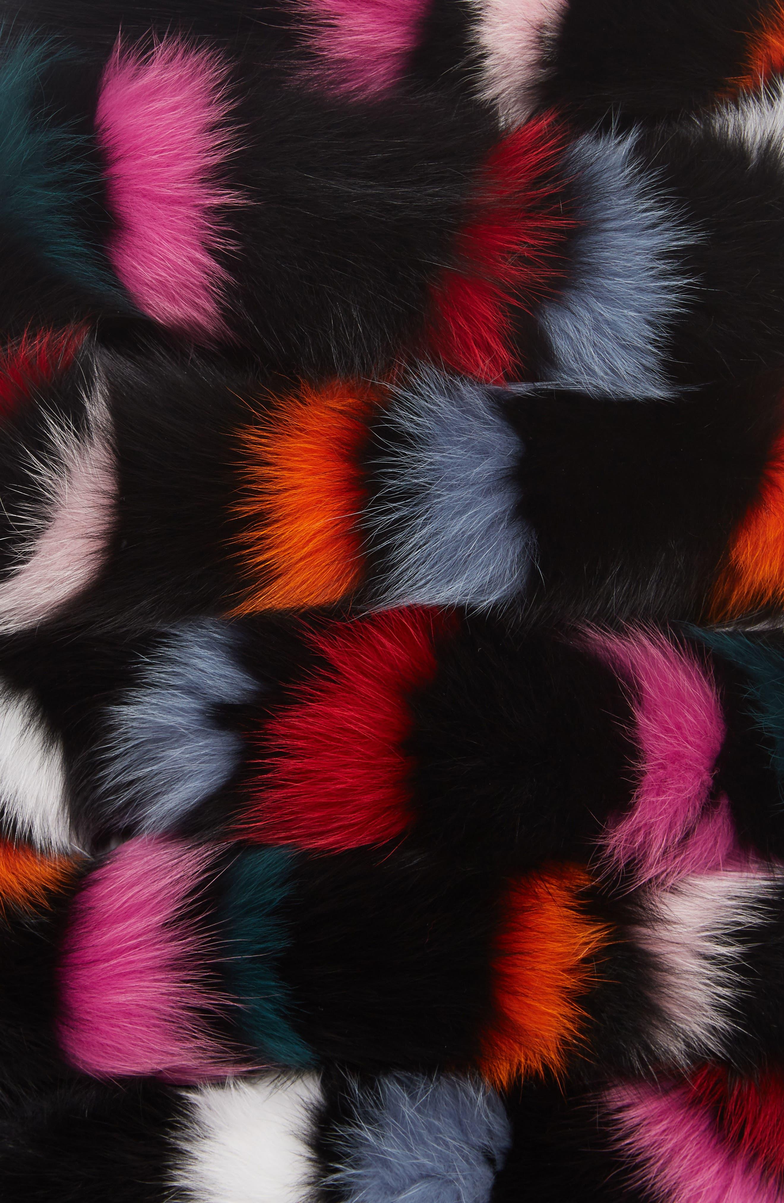 Rainbow Twist Genuine Fox Fur Stole,                             Alternate thumbnail 2, color,                             Multi