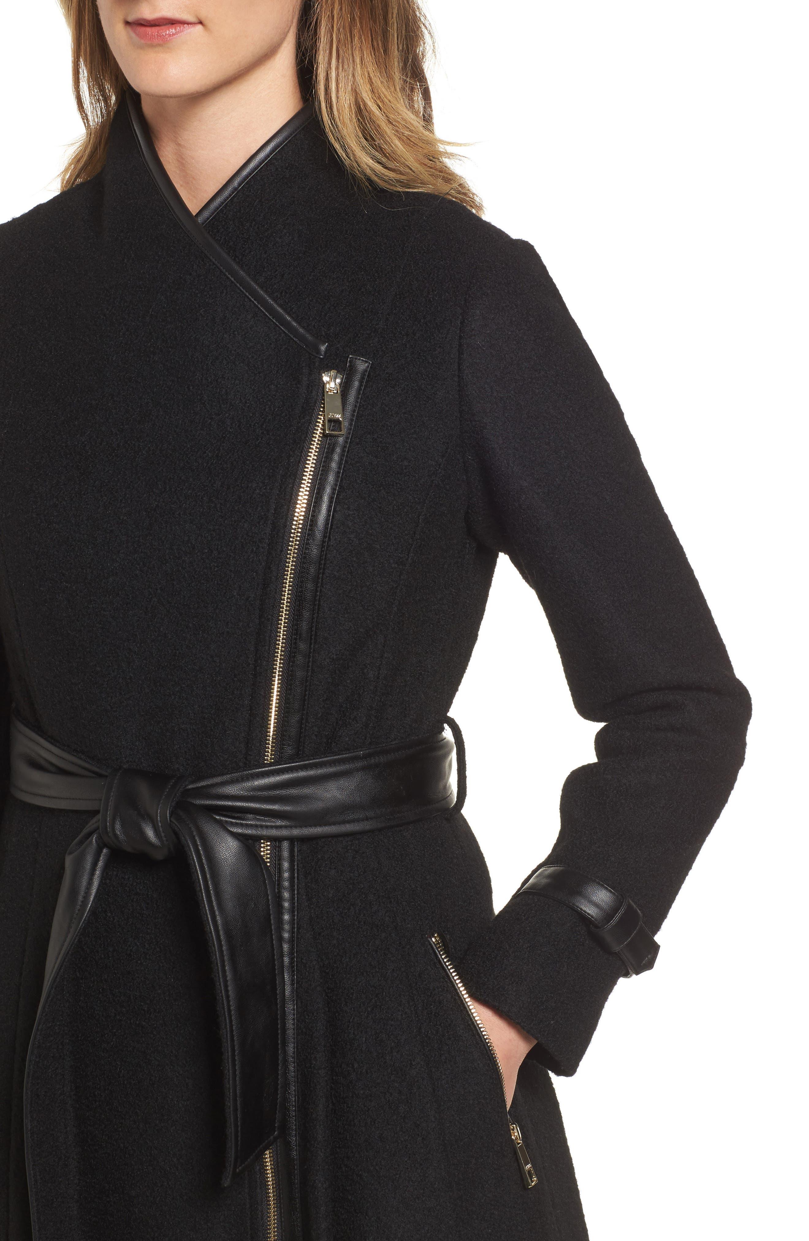 Belted Boiled Wool Blend Coat,                             Alternate thumbnail 4, color,                             Black