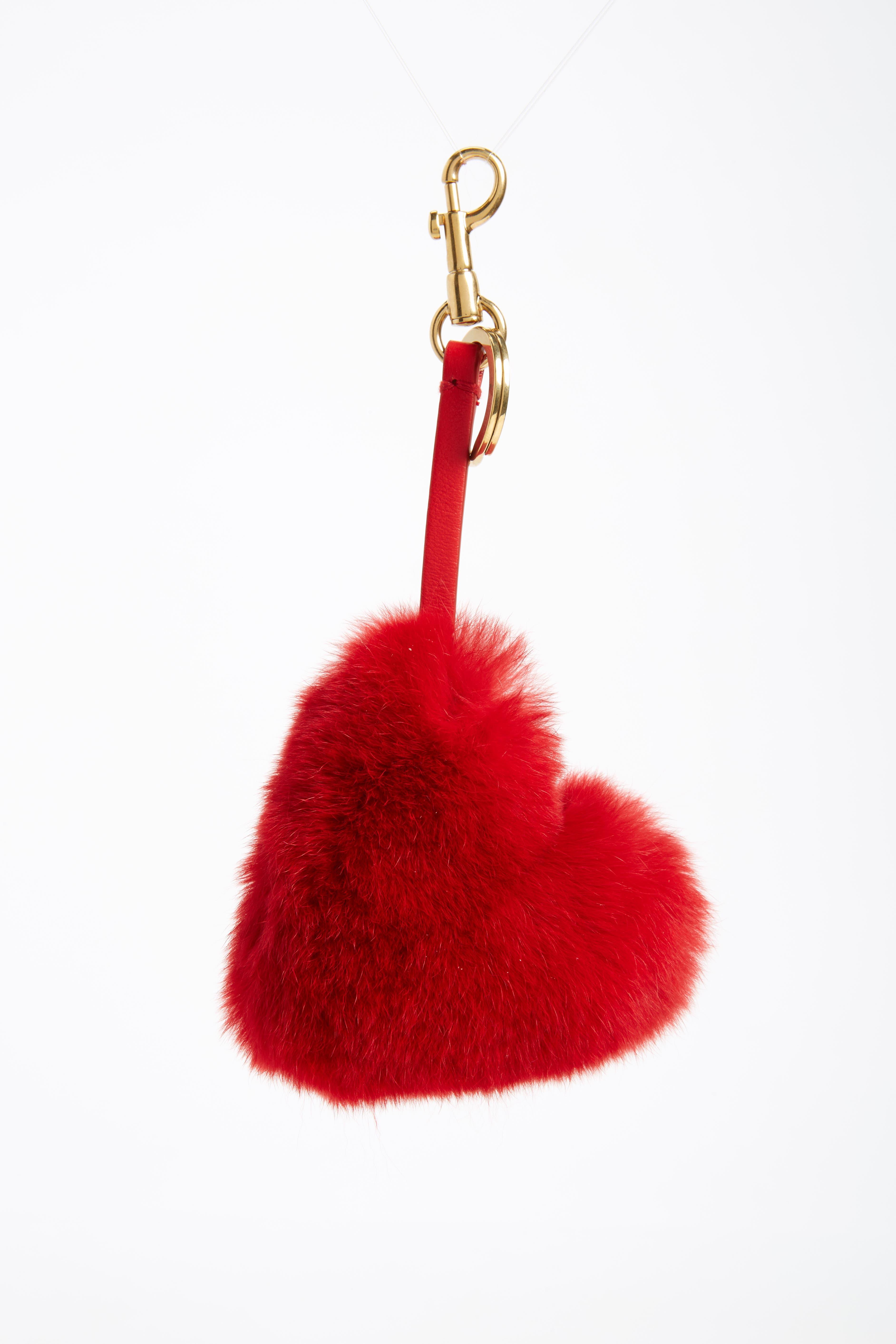 Alternate Image 1 Selected - Anya Hindmarch Heart Genuine Rabbit Fur Bag Charm
