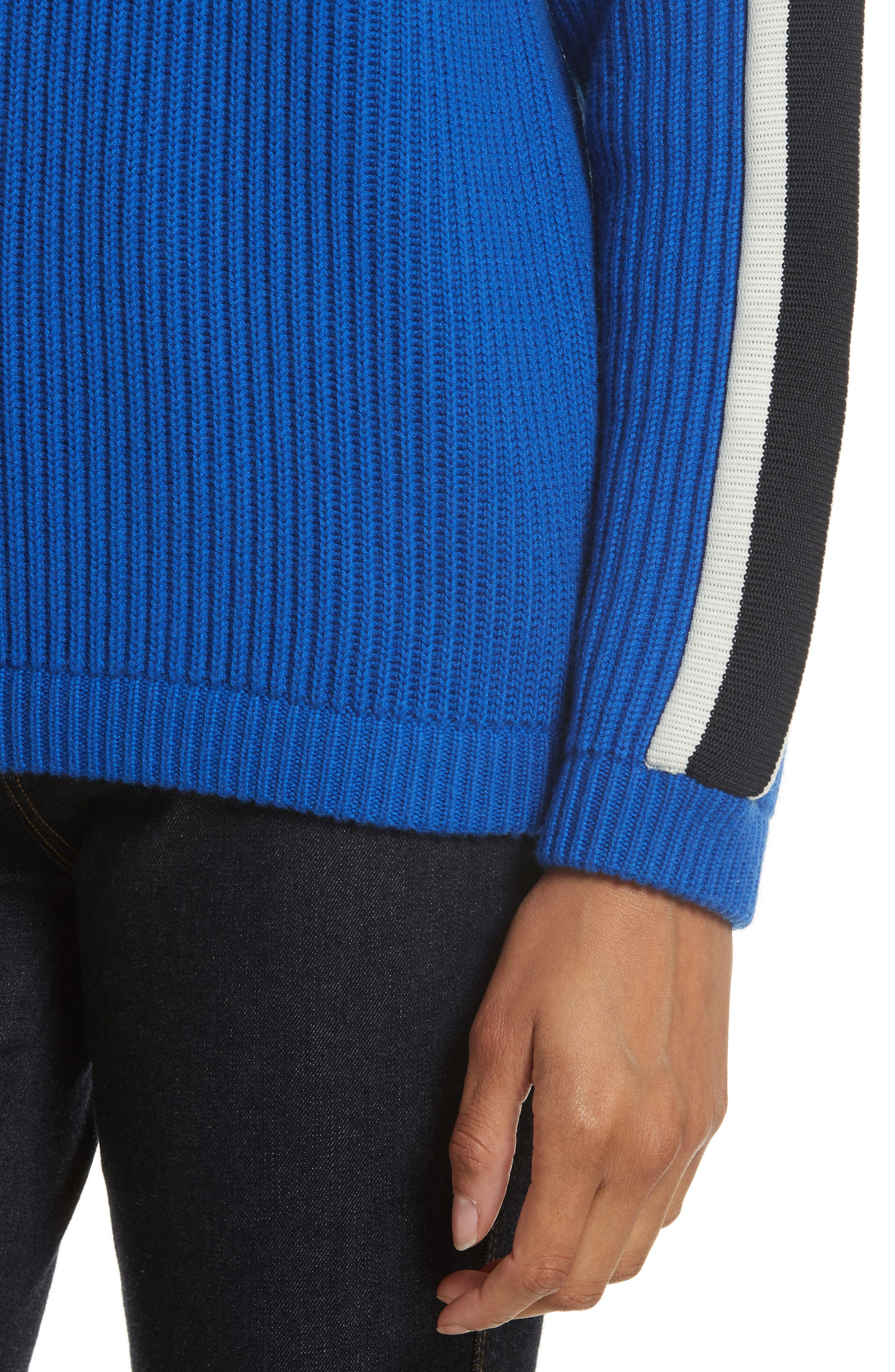 Val Stripe Sleeve Sweater,                             Alternate thumbnail 4, color,                             Blue Dahlia