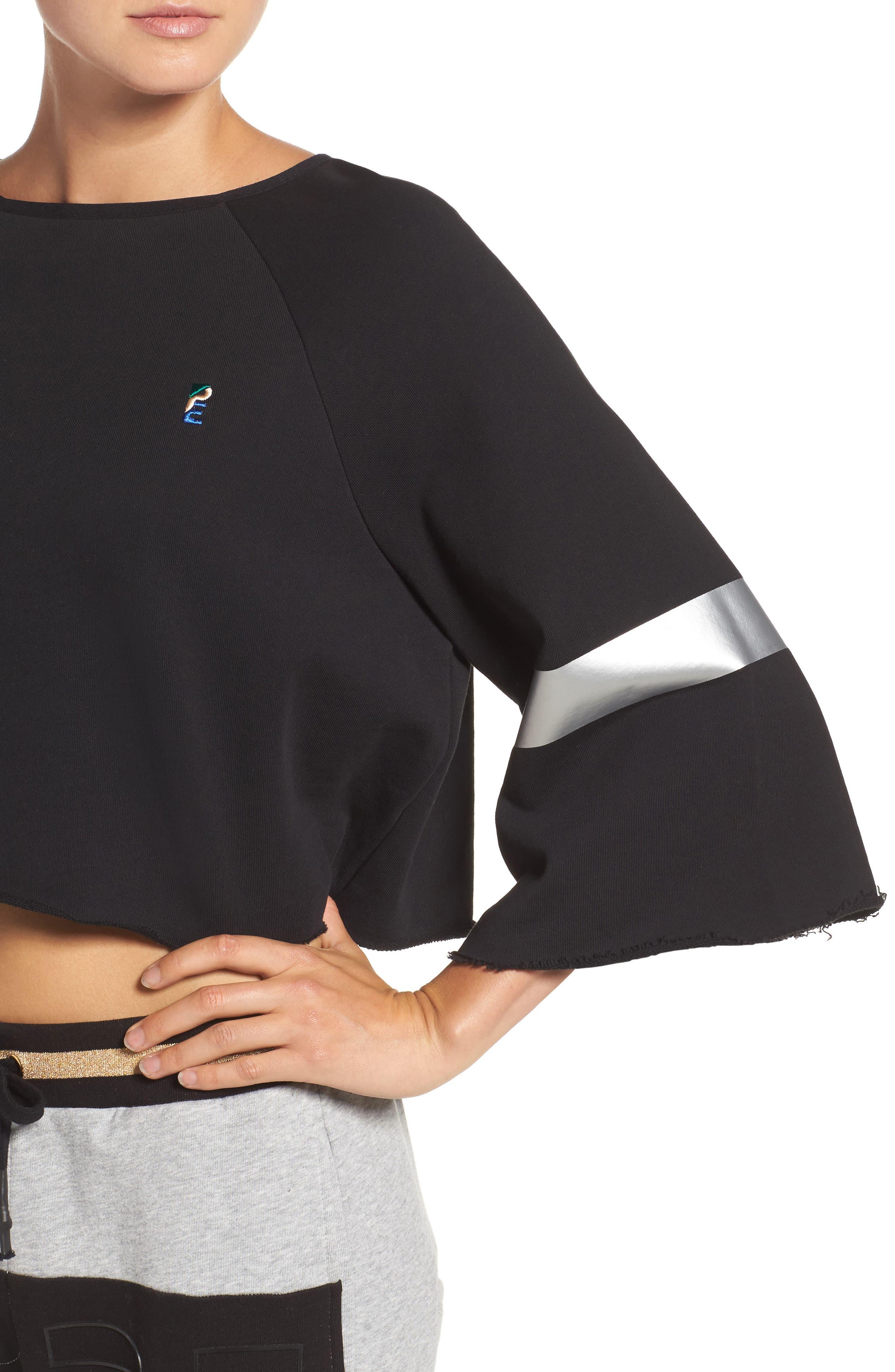 Power Hitter Crop Sweatshirt,                             Alternate thumbnail 4, color,                             Black