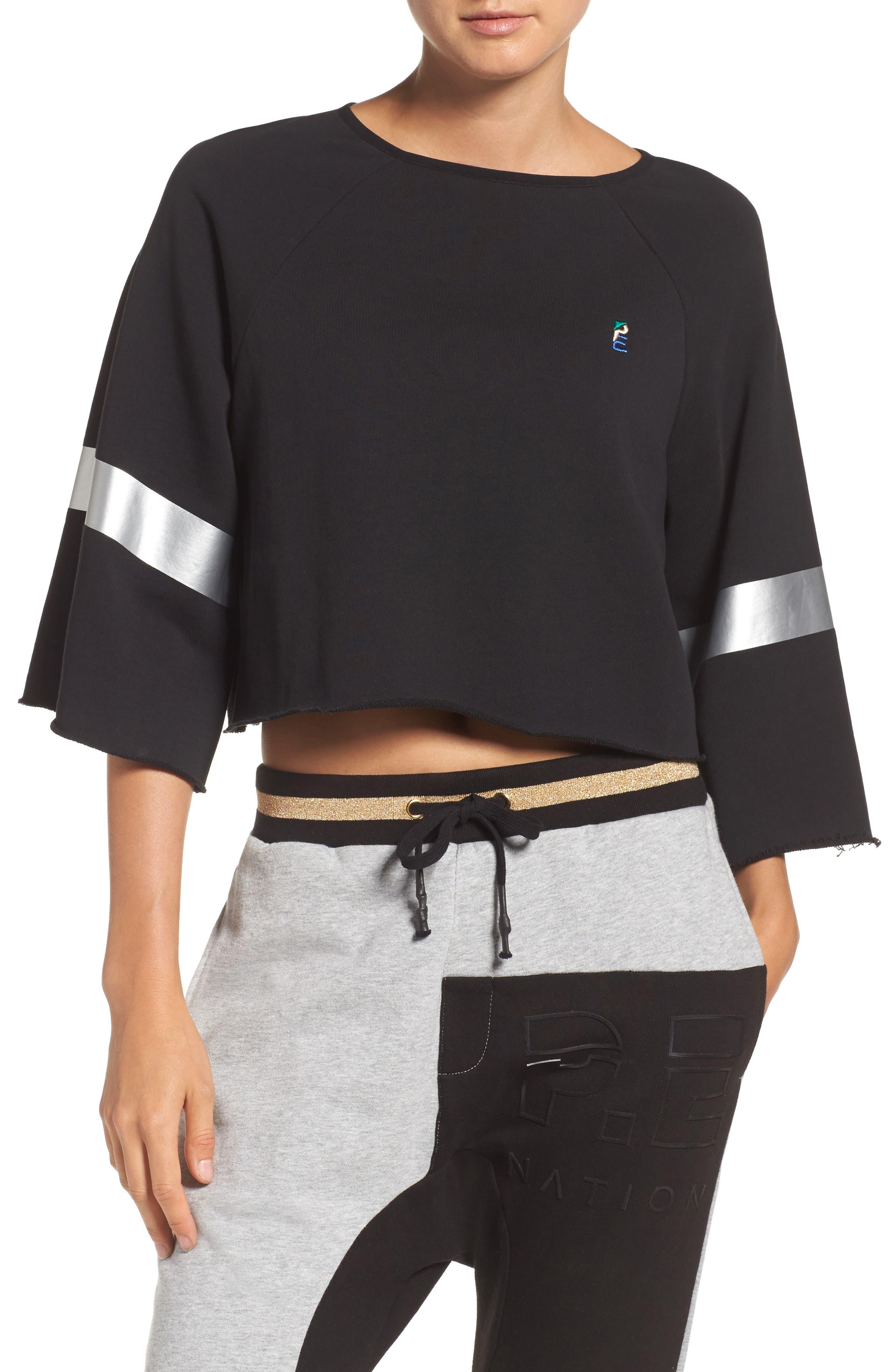 Power Hitter Crop Sweatshirt,                         Main,                         color, Black